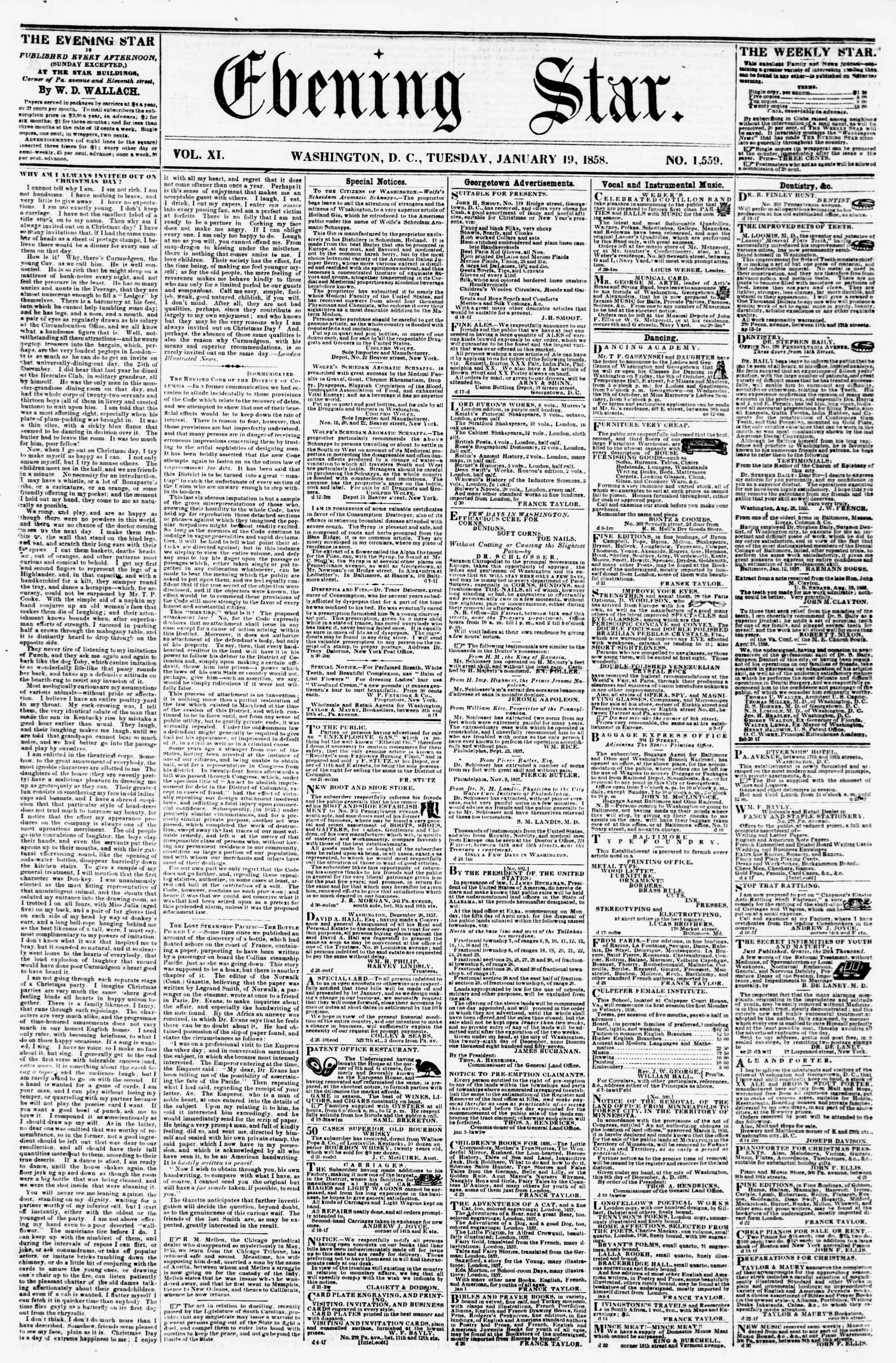 Newspaper of Evening Star dated January 19, 1858 Page 1