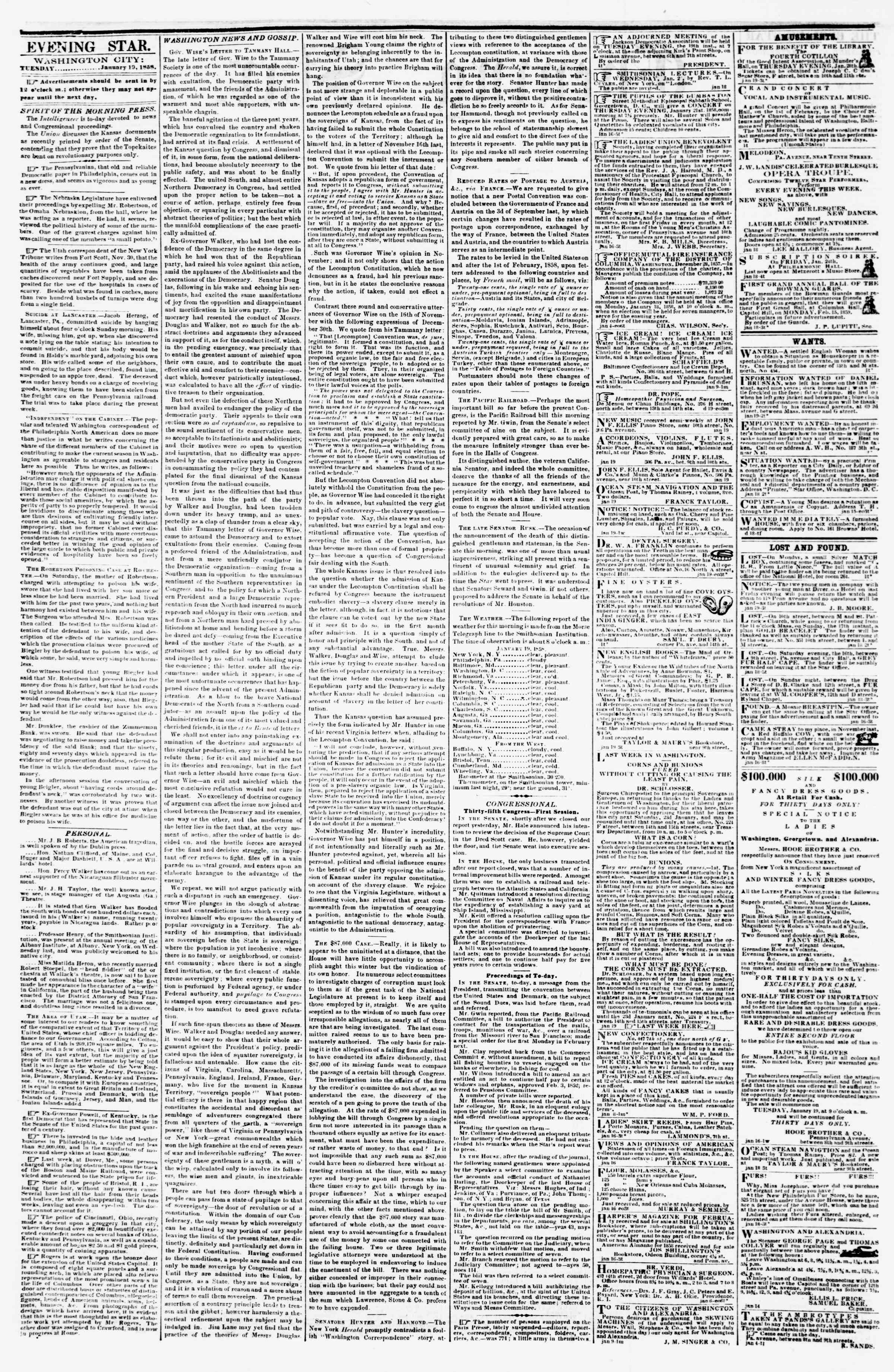 Newspaper of Evening Star dated January 19, 1858 Page 2