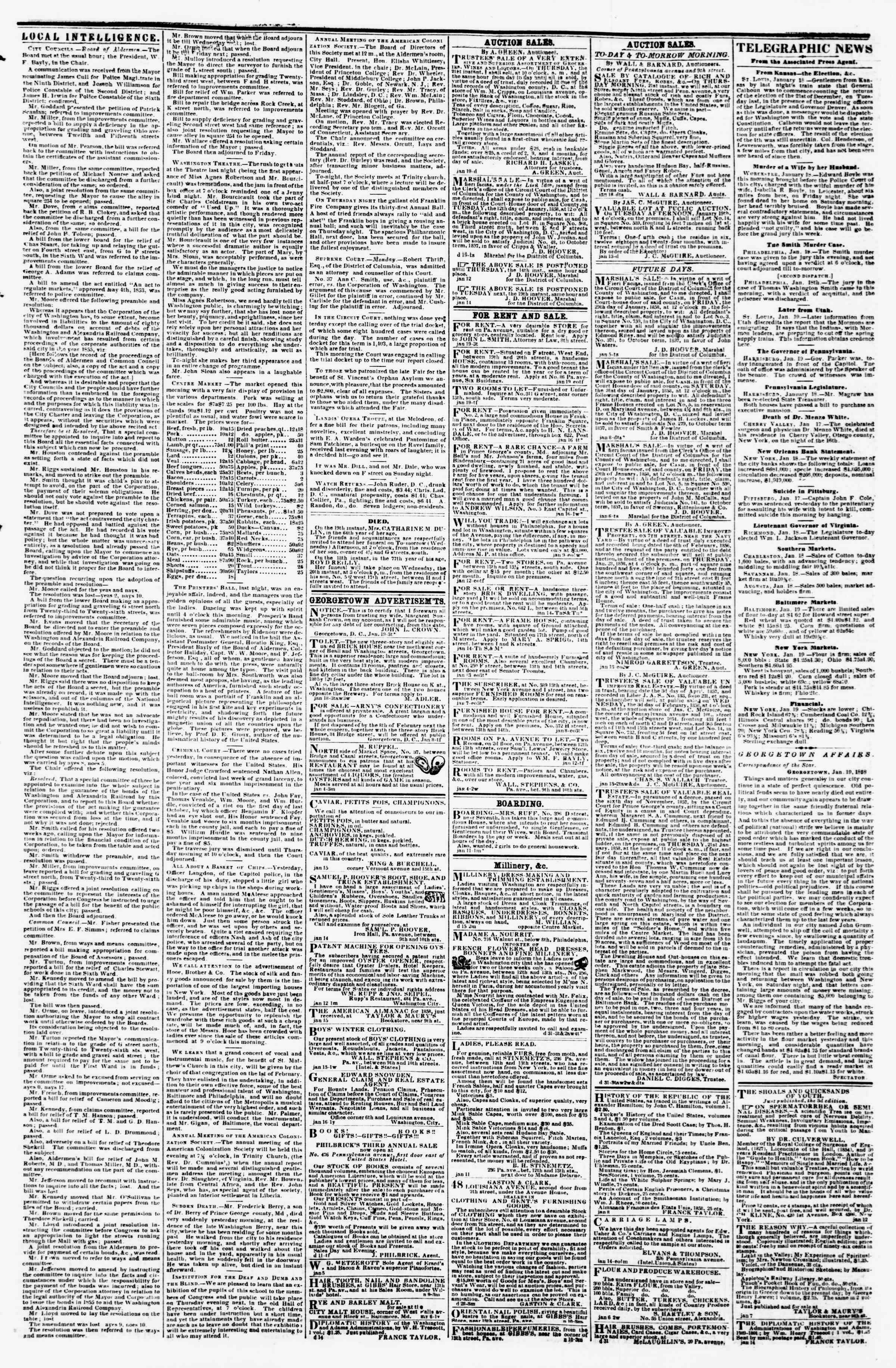 Newspaper of Evening Star dated January 19, 1858 Page 3