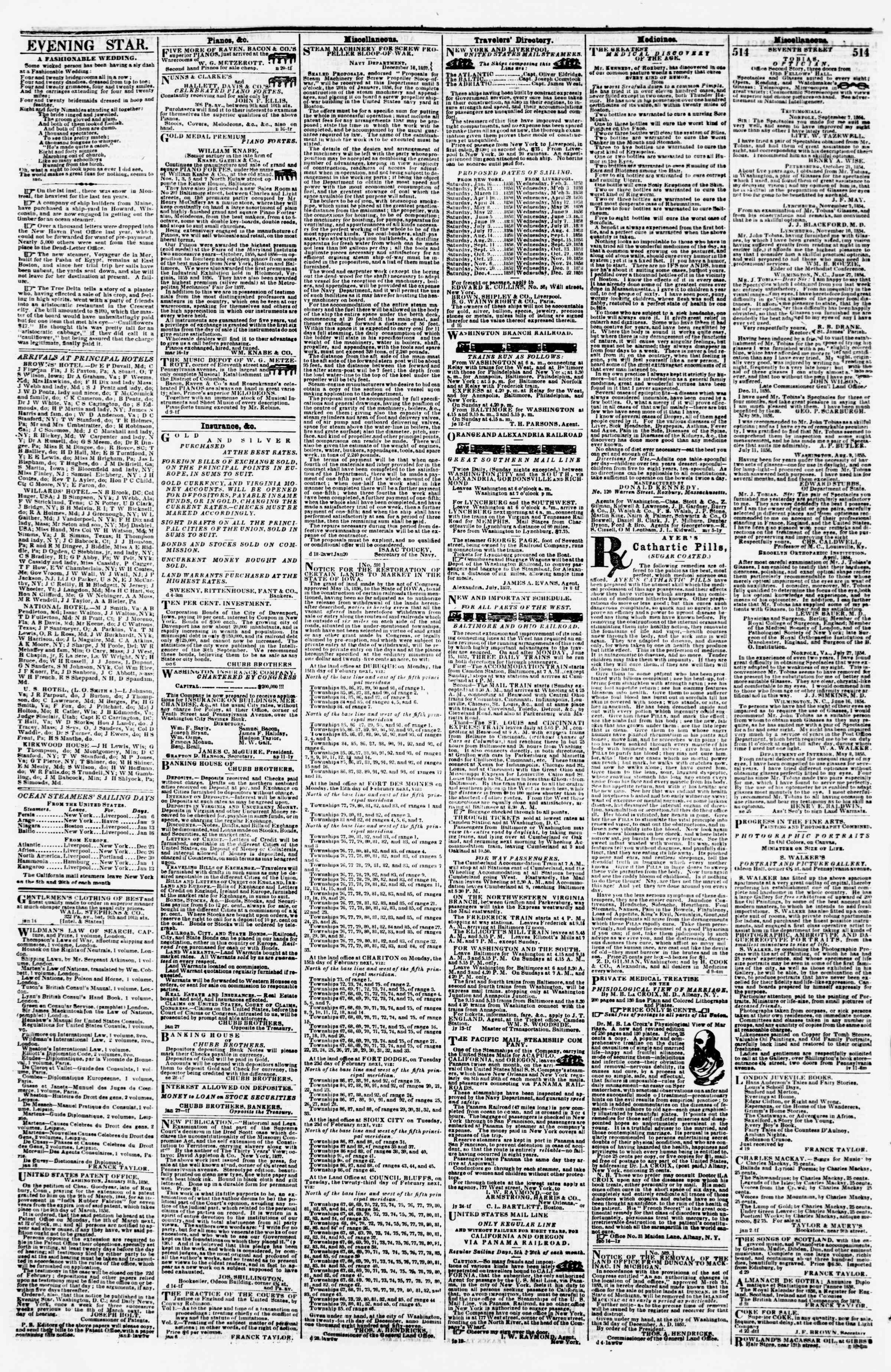 Newspaper of Evening Star dated January 19, 1858 Page 4