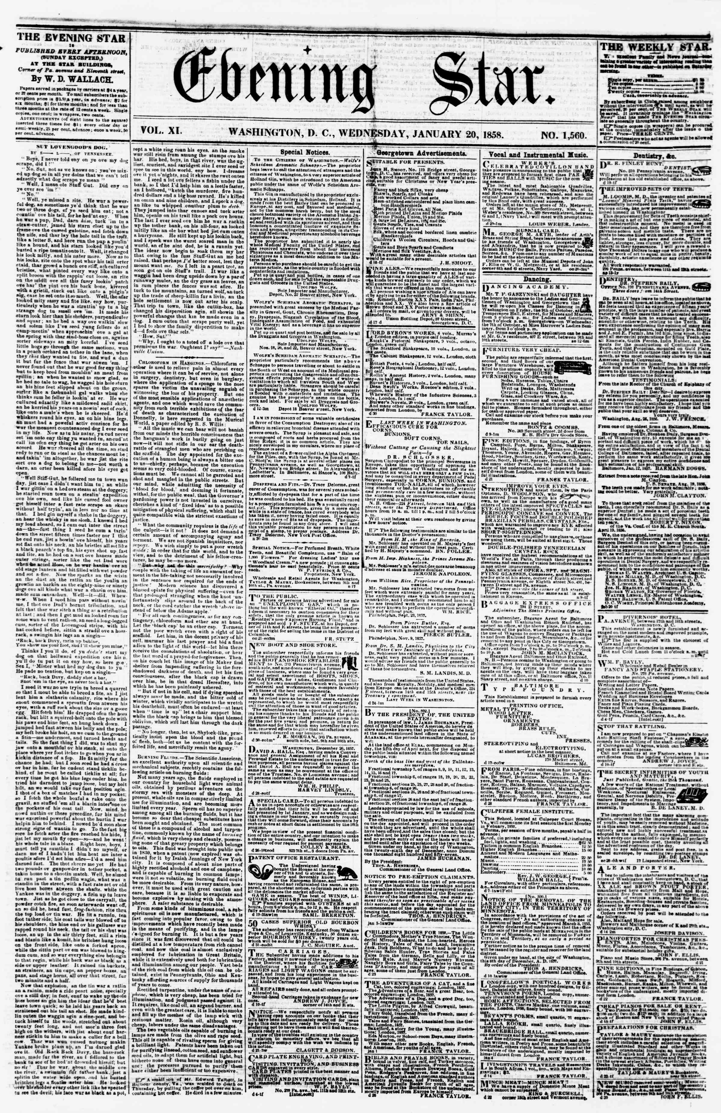 Newspaper of Evening Star dated January 20, 1858 Page 1