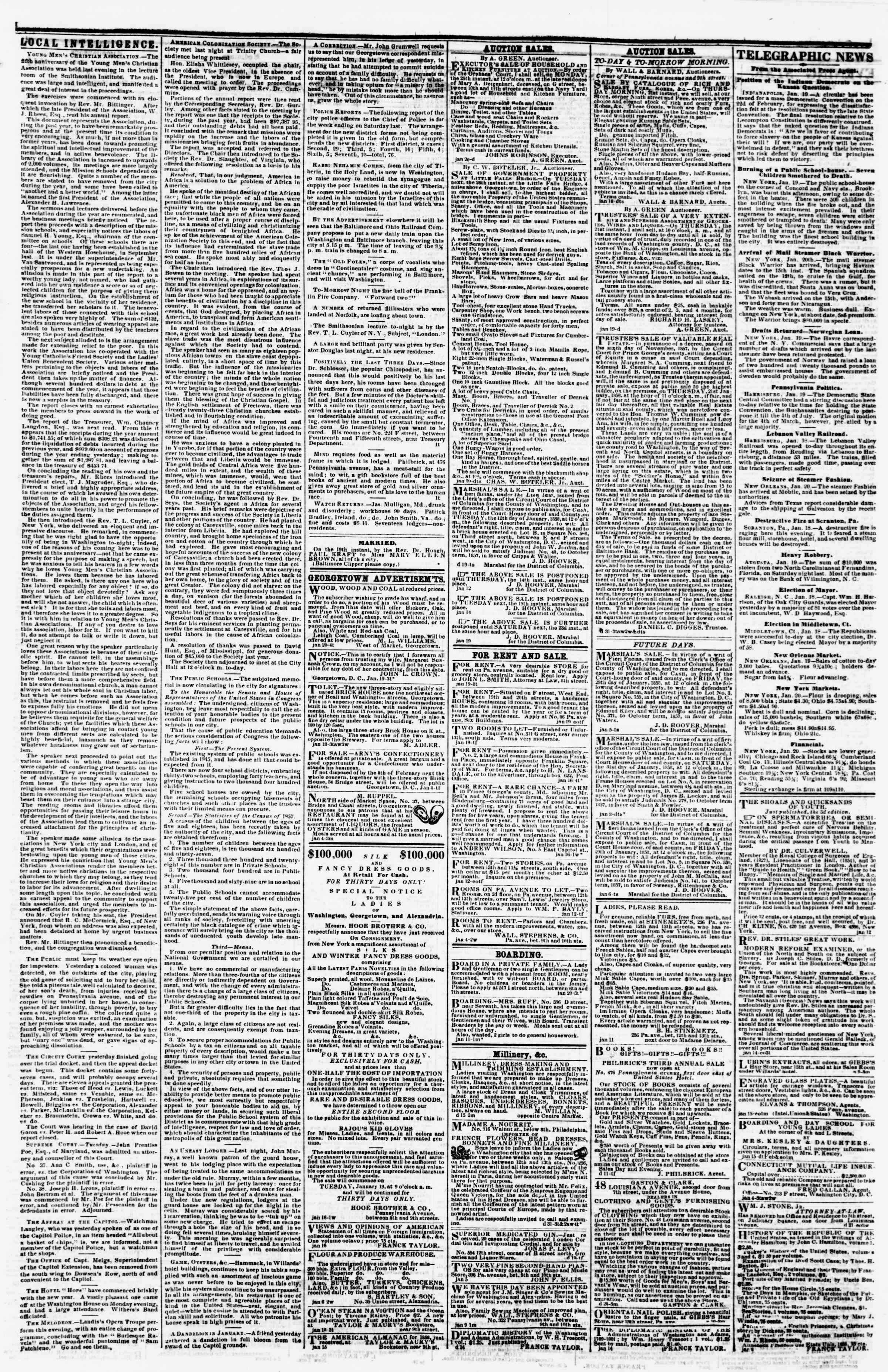 Newspaper of Evening Star dated January 20, 1858 Page 3