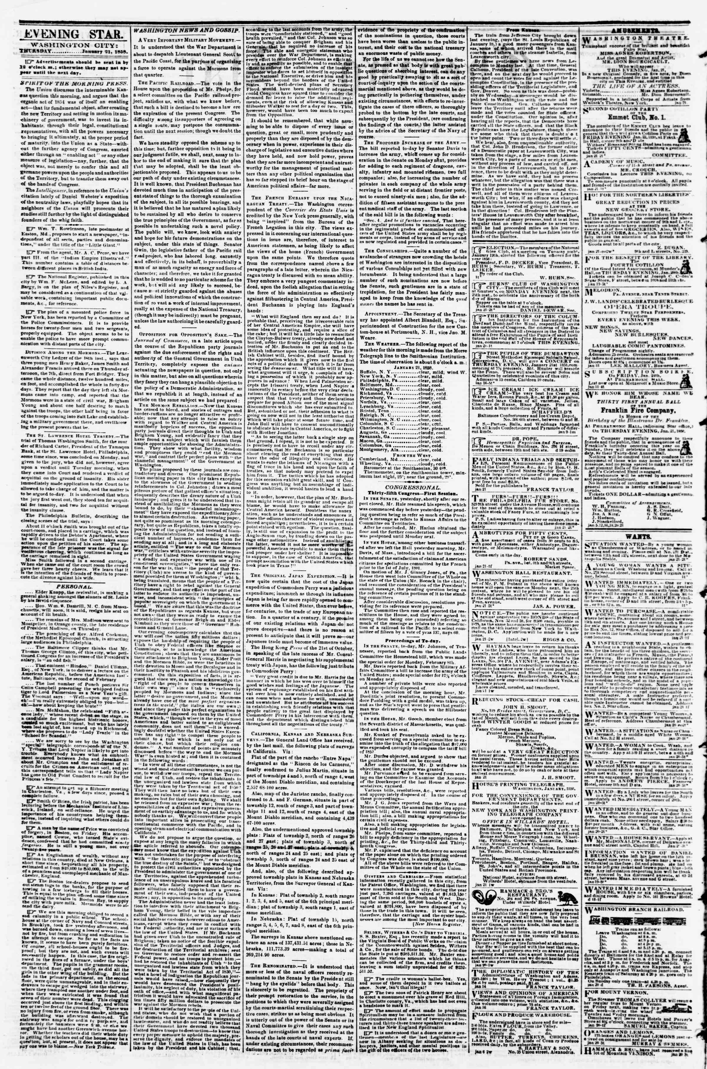 Newspaper of Evening Star dated January 21, 1858 Page 2