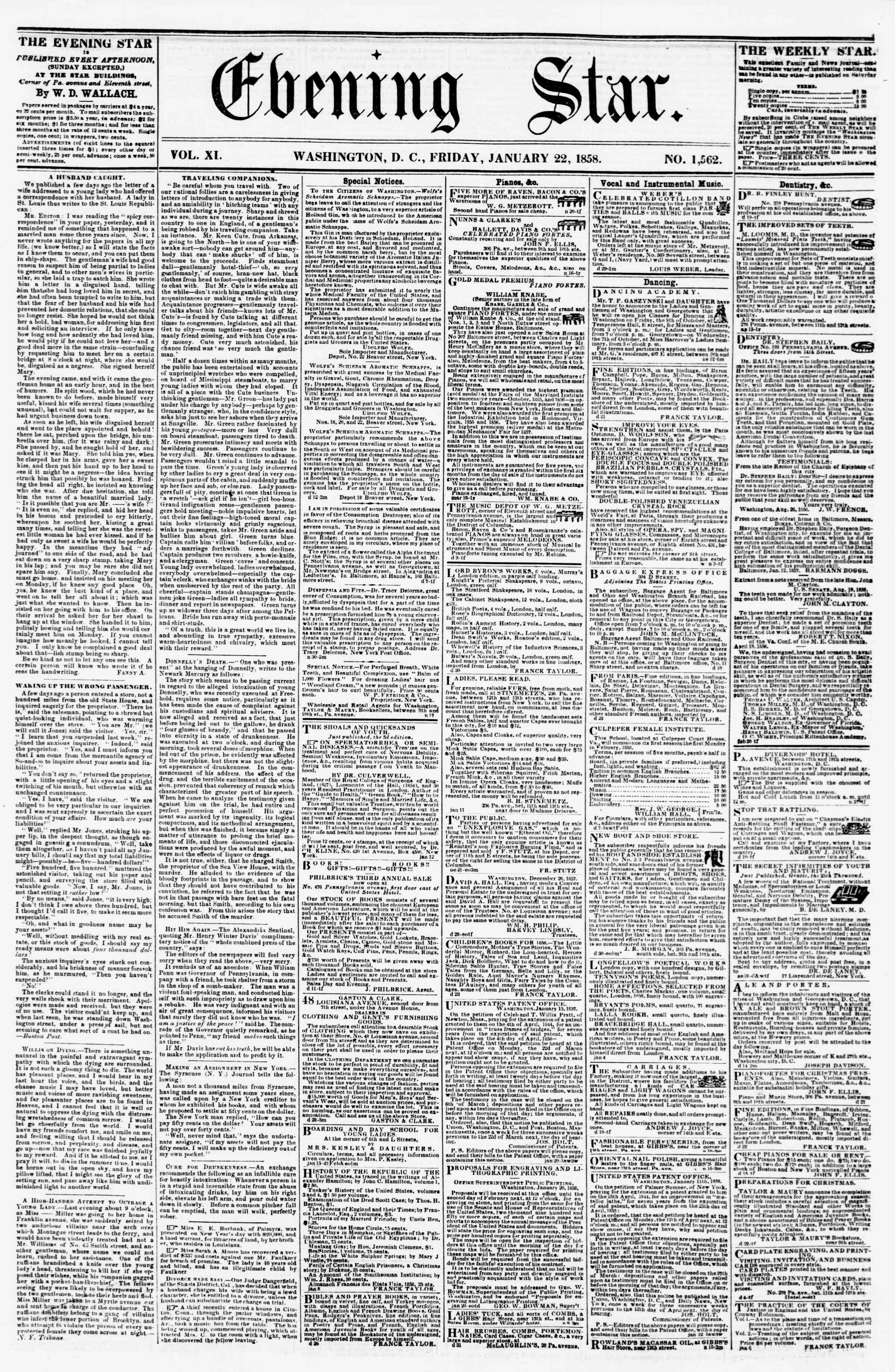 Newspaper of Evening Star dated January 22, 1858 Page 1