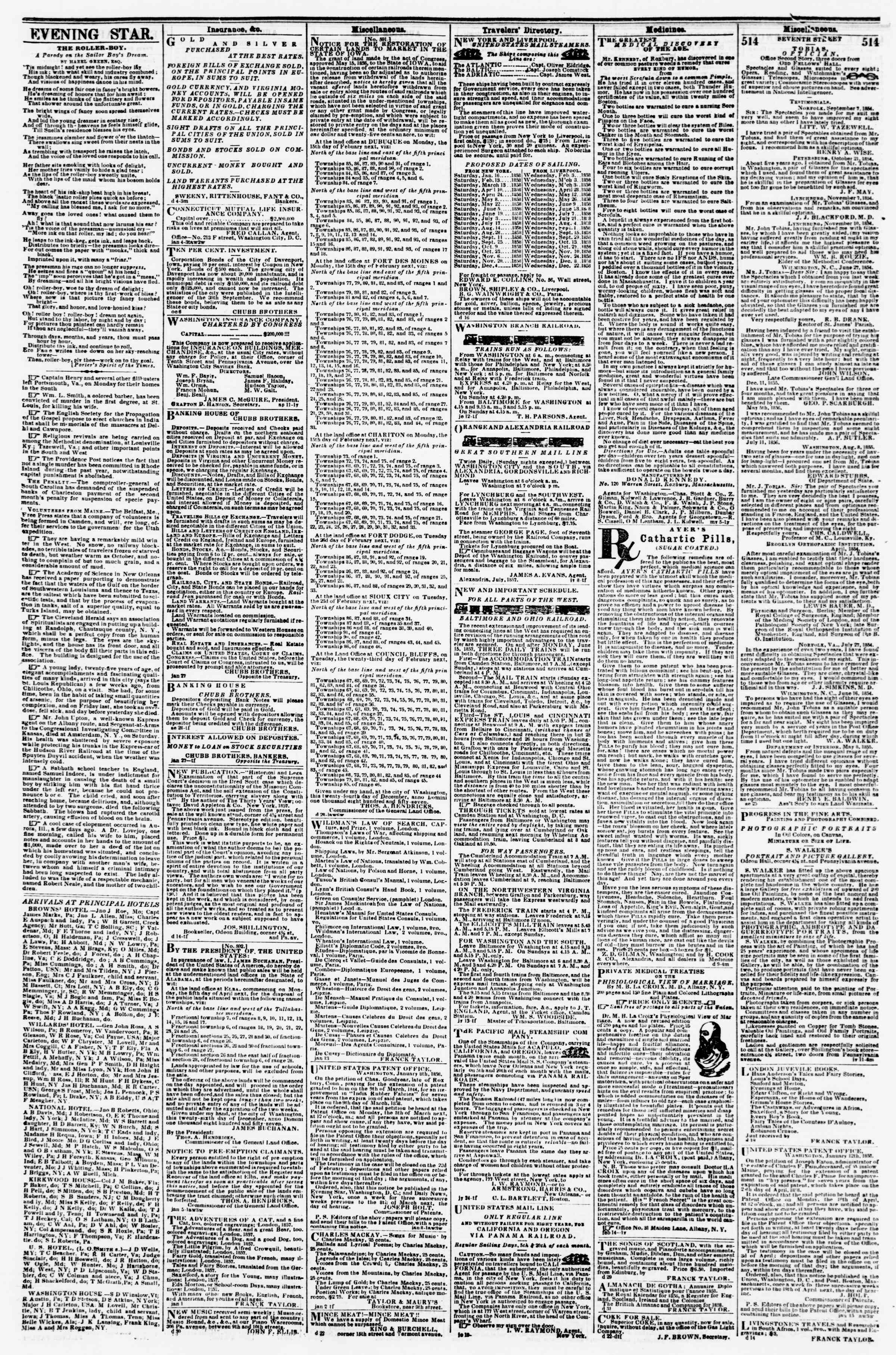 Newspaper of Evening Star dated January 22, 1858 Page 4
