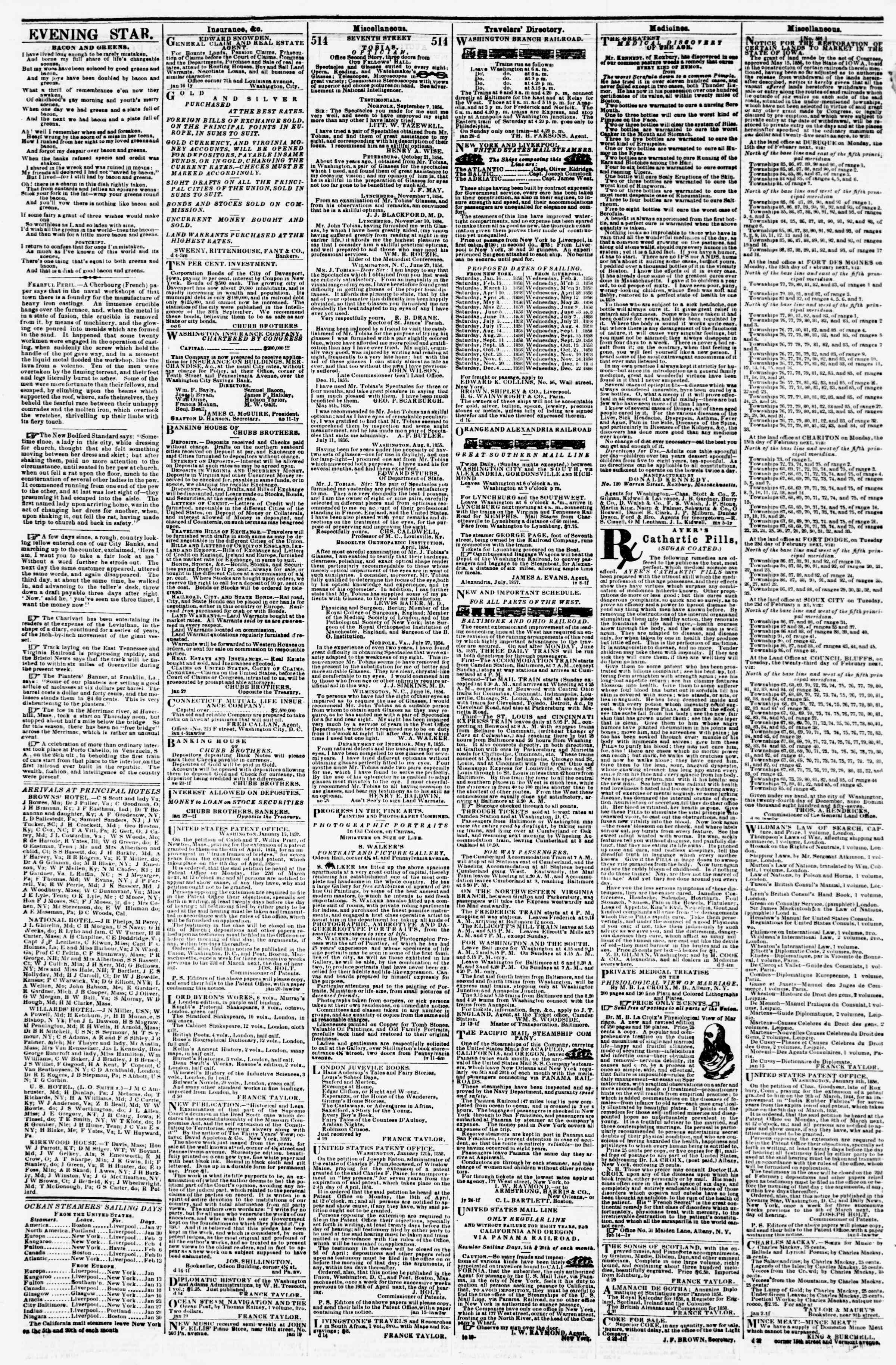 Newspaper of Evening Star dated January 25, 1858 Page 4