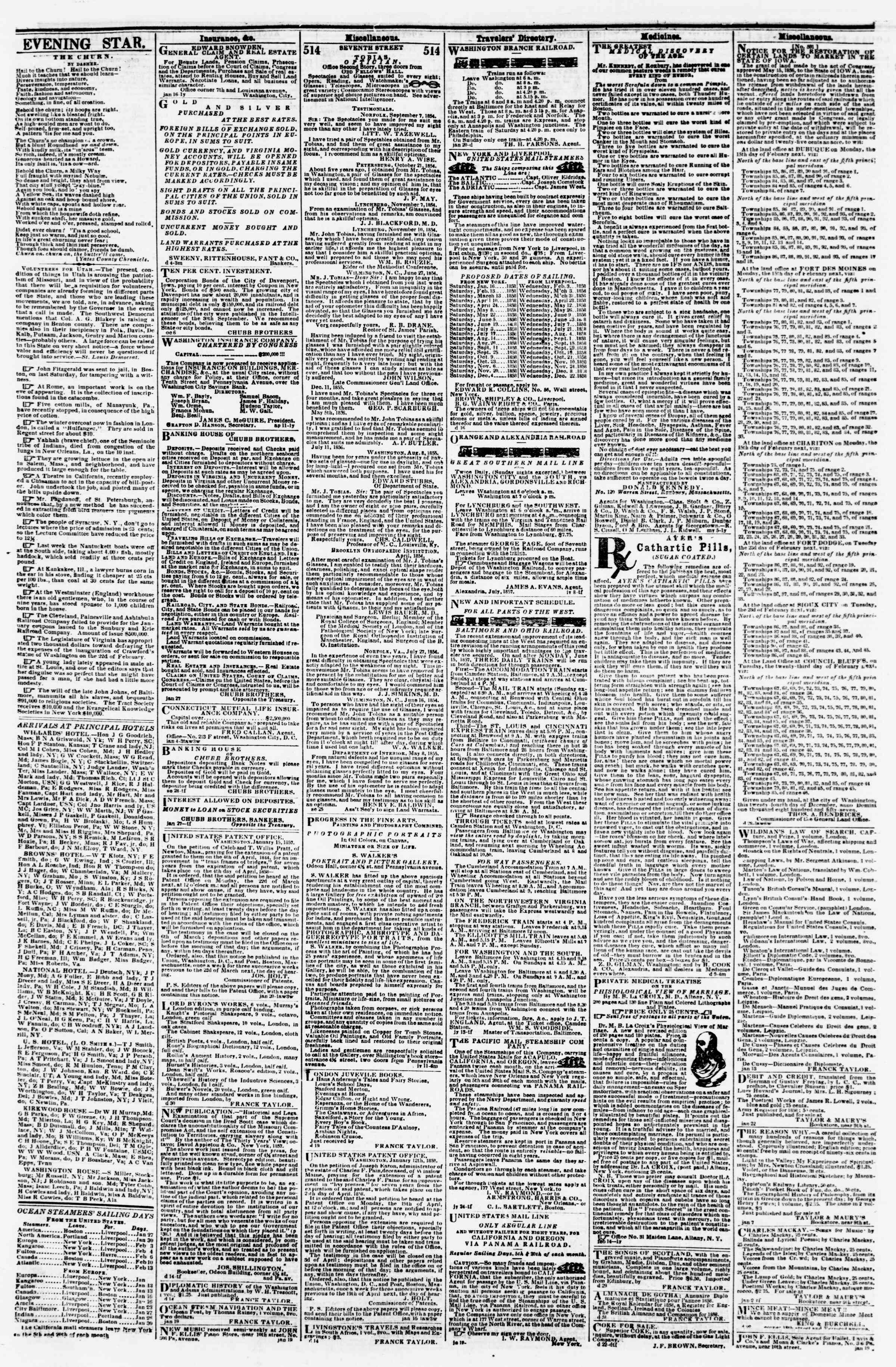 Newspaper of Evening Star dated January 26, 1858 Page 4