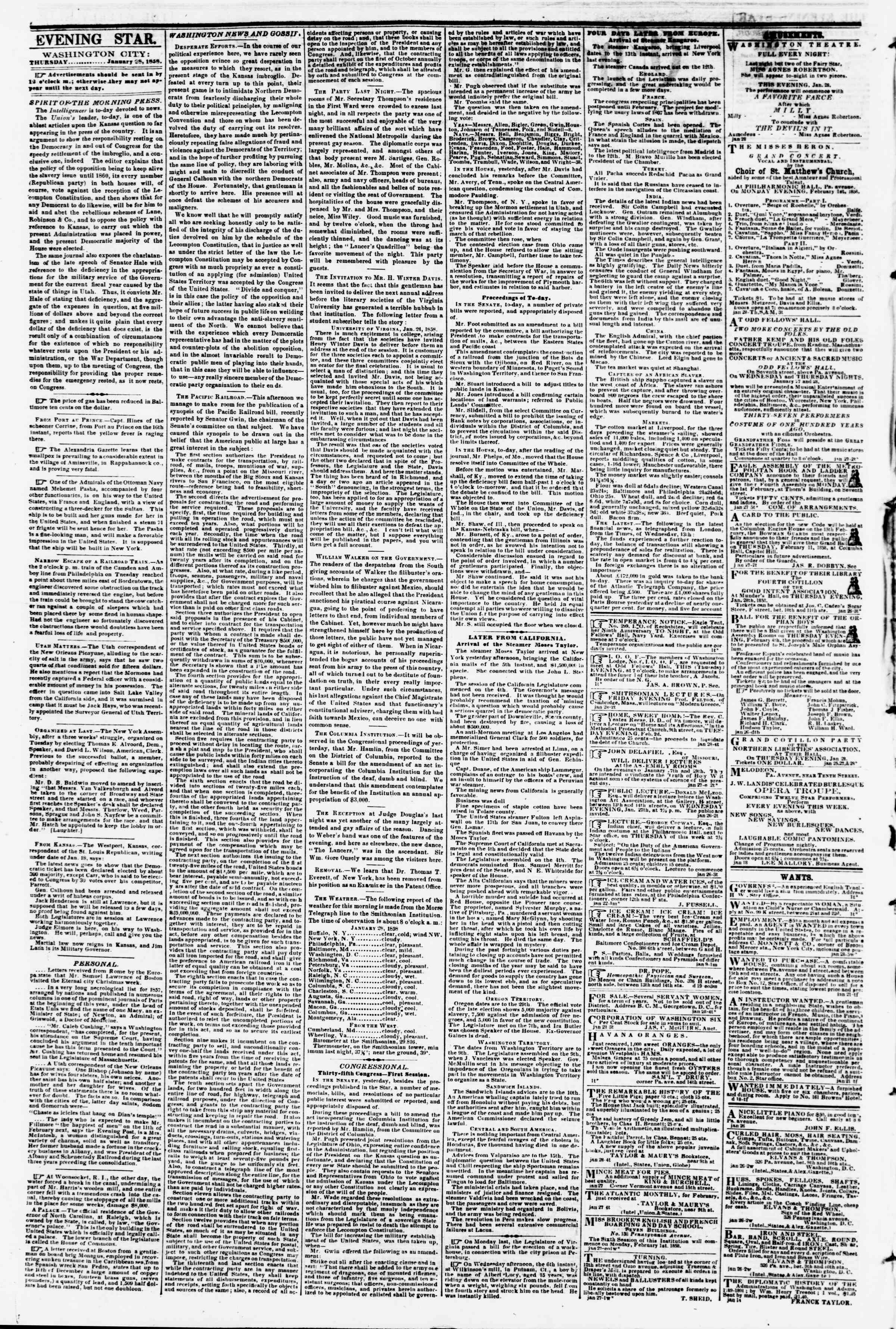 Newspaper of Evening Star dated January 28, 1858 Page 2