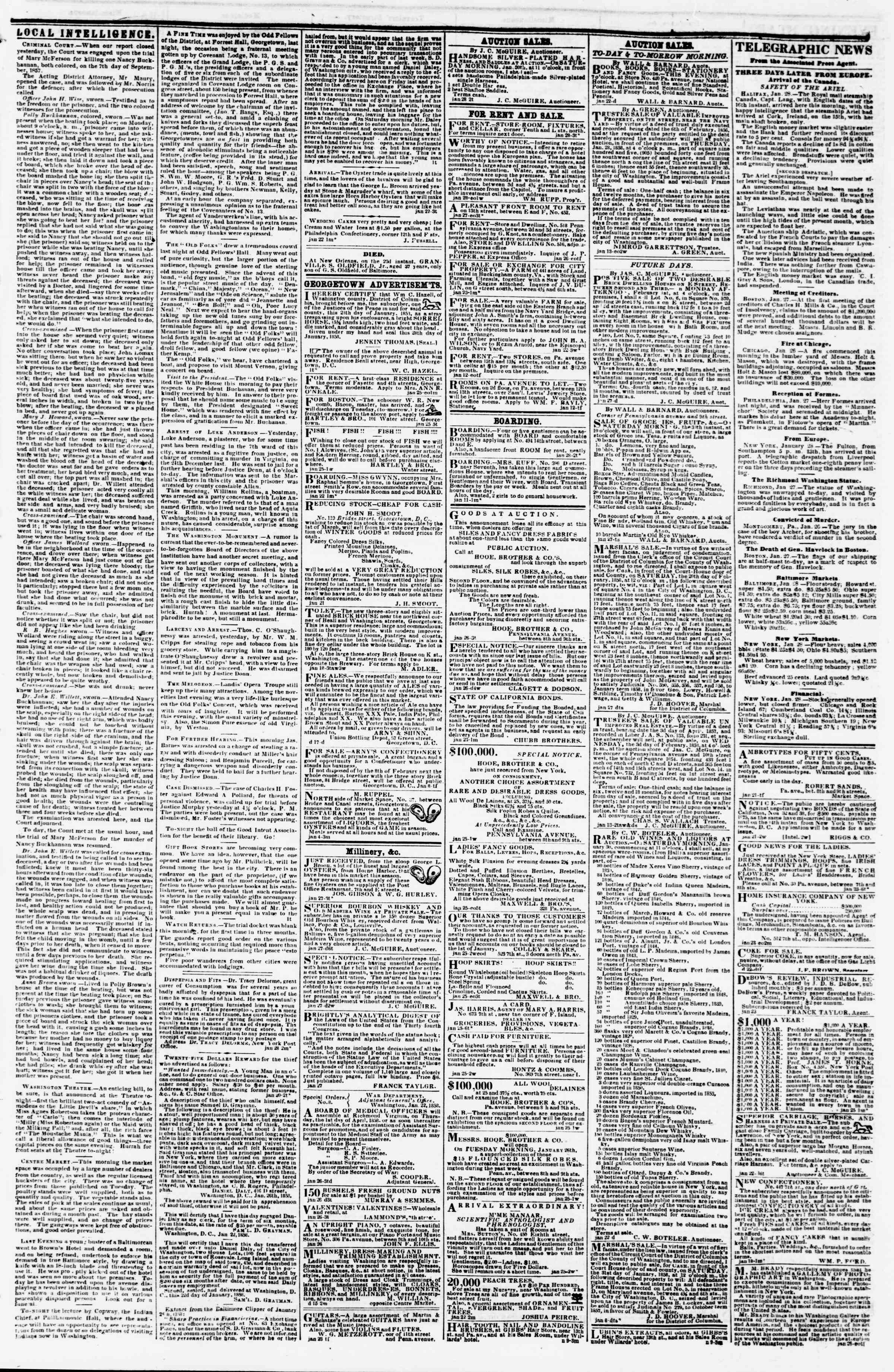 Newspaper of Evening Star dated January 28, 1858 Page 3