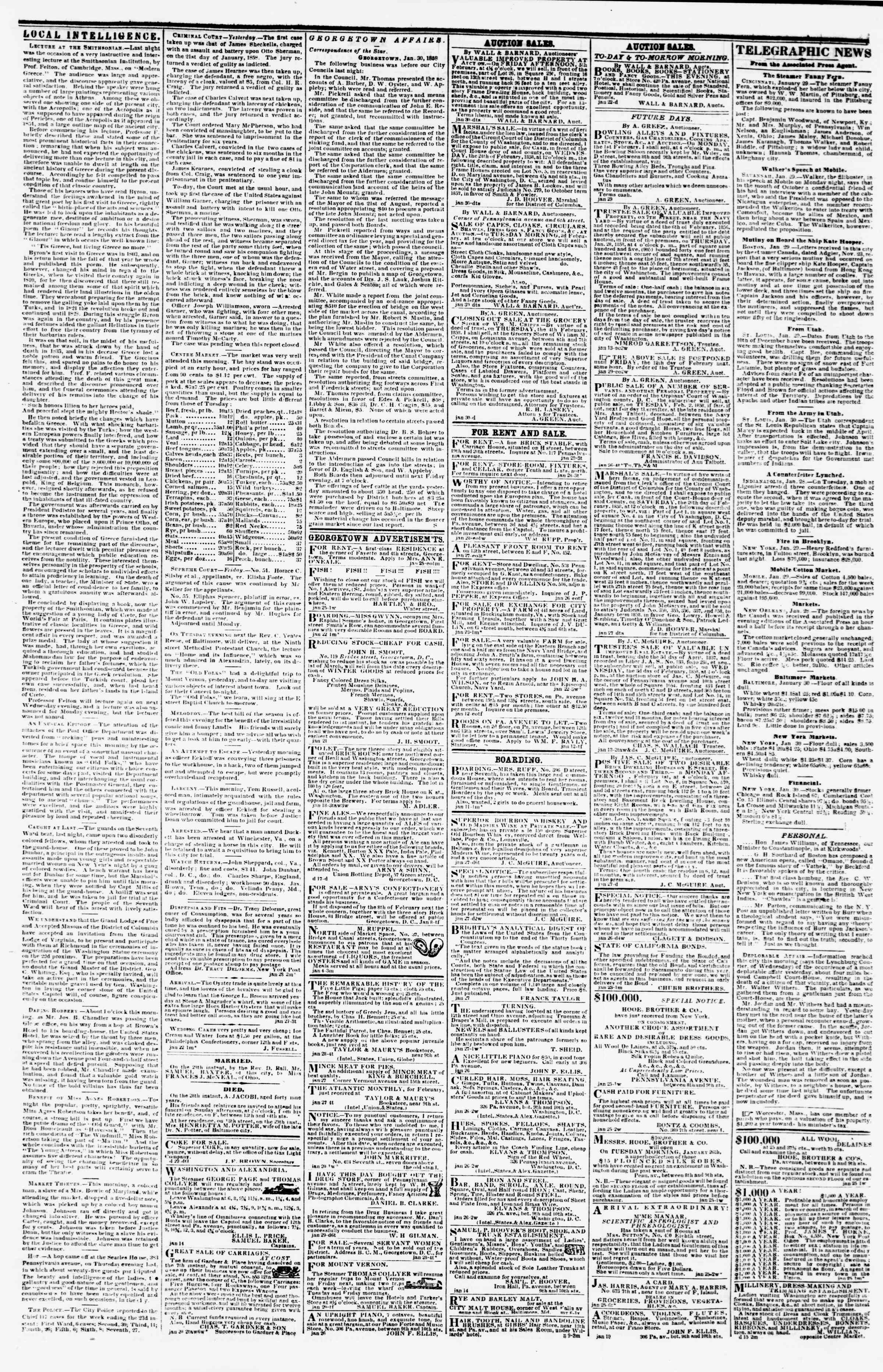 Newspaper of Evening Star dated January 30, 1858 Page 3