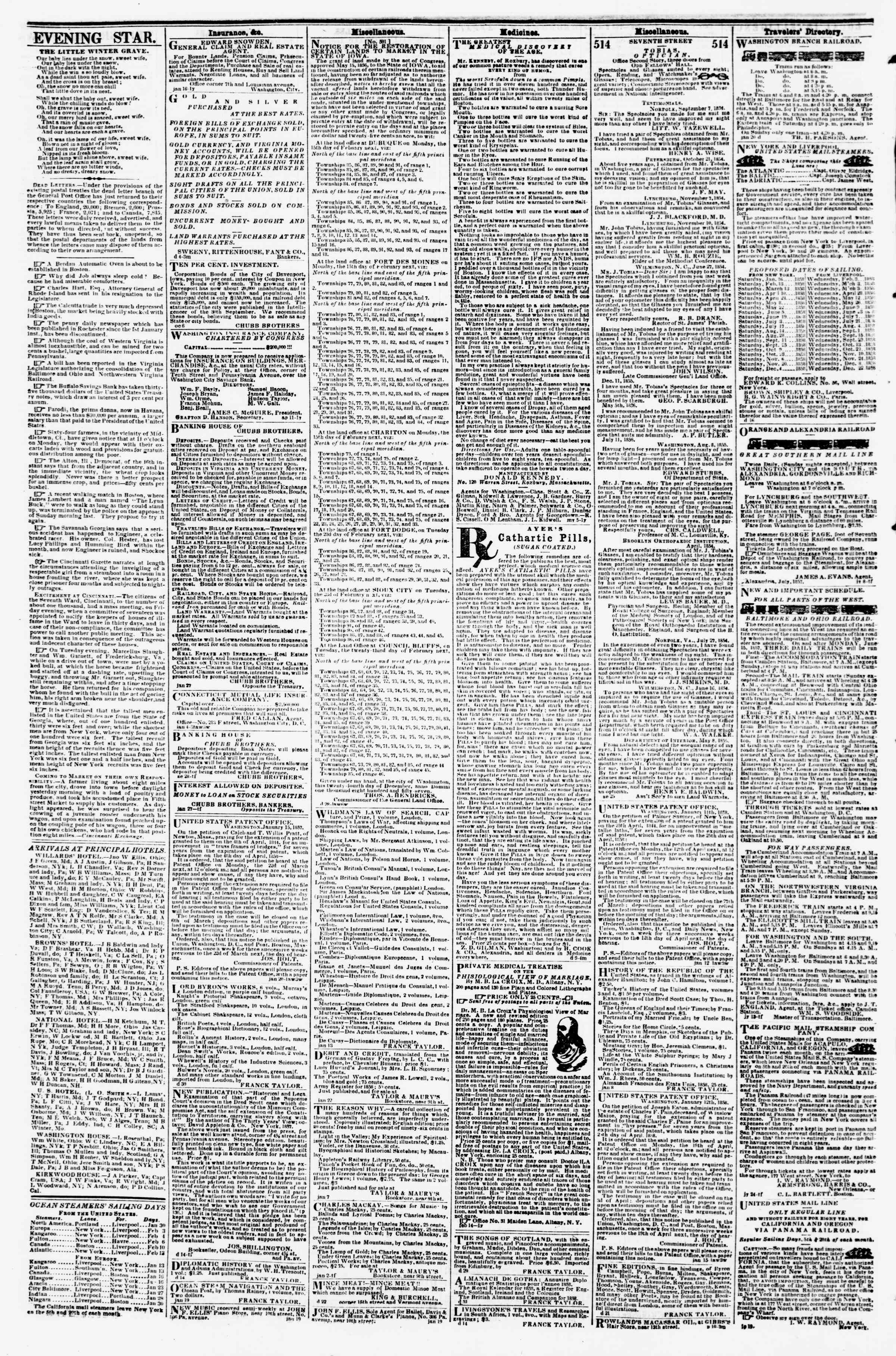 Newspaper of Evening Star dated January 30, 1858 Page 4