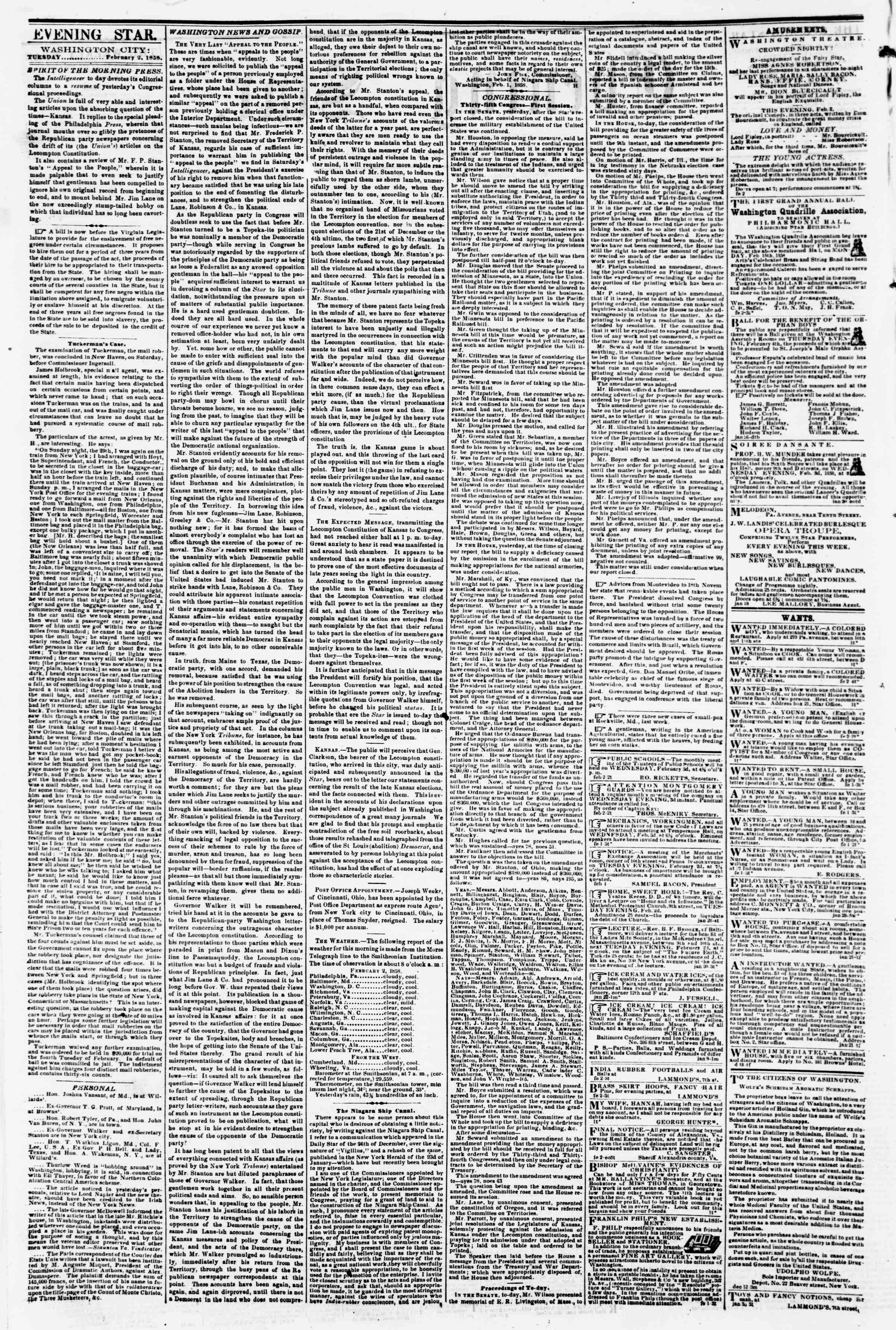Newspaper of Evening Star dated February 2, 1858 Page 2
