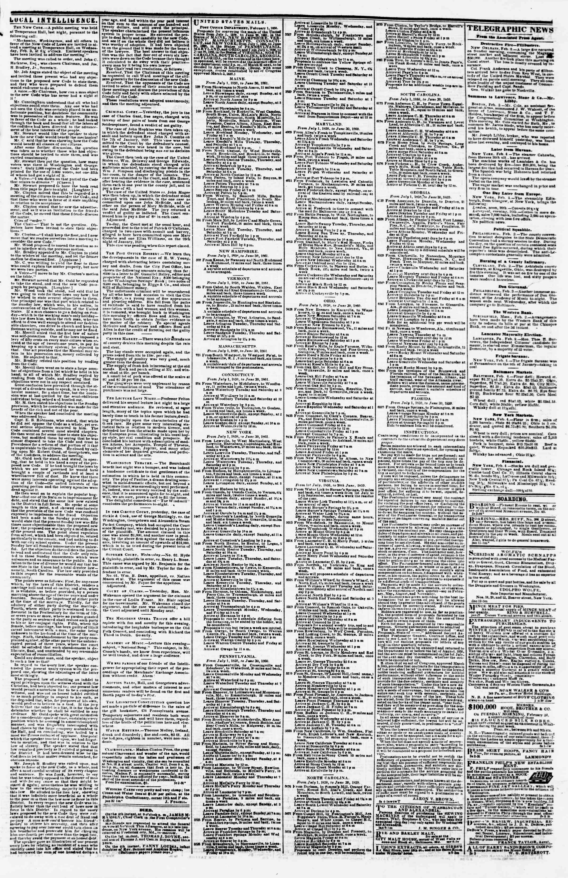 Newspaper of Evening Star dated February 4, 1858 Page 3