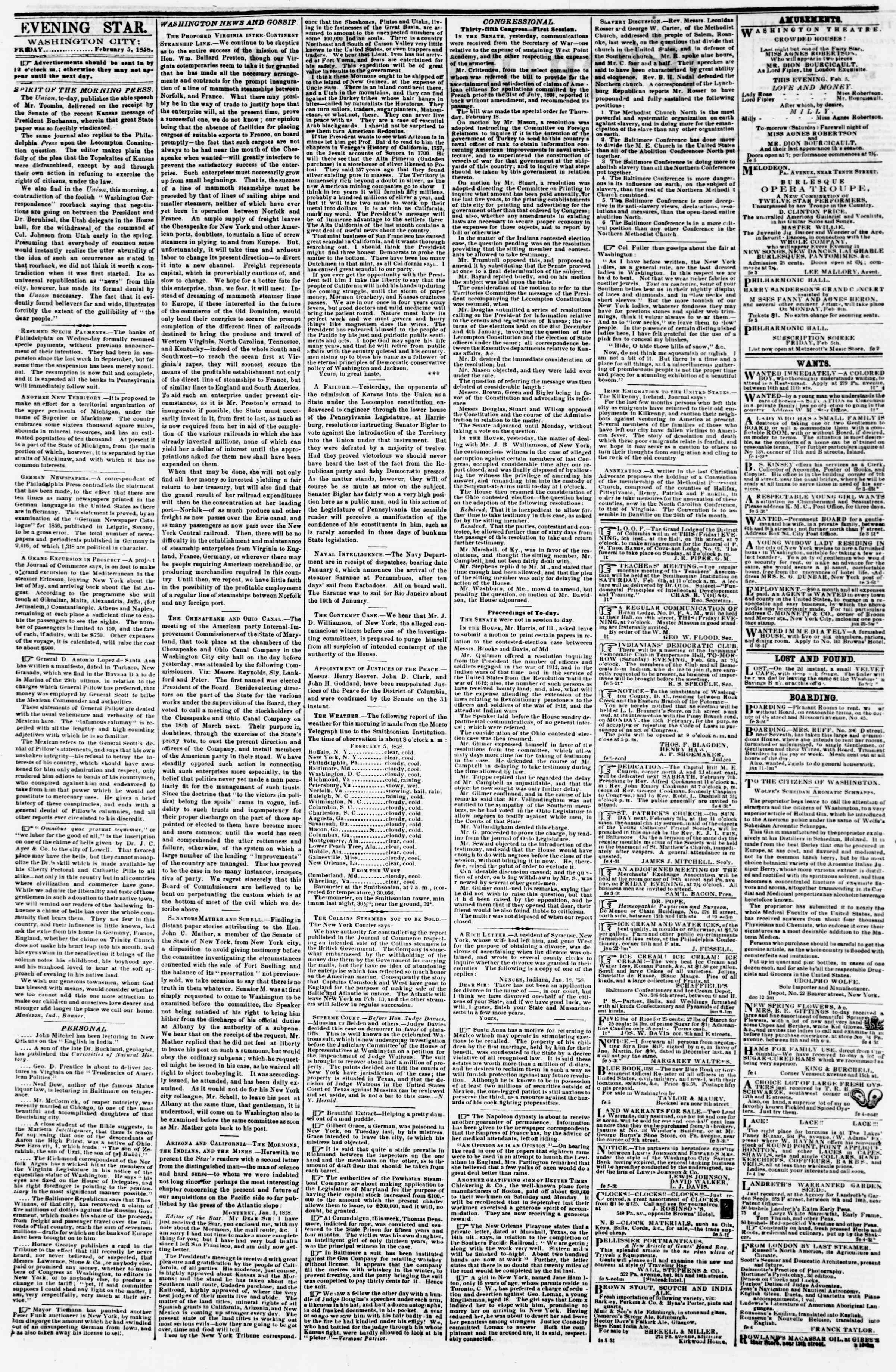 Newspaper of Evening Star dated February 5, 1858 Page 2