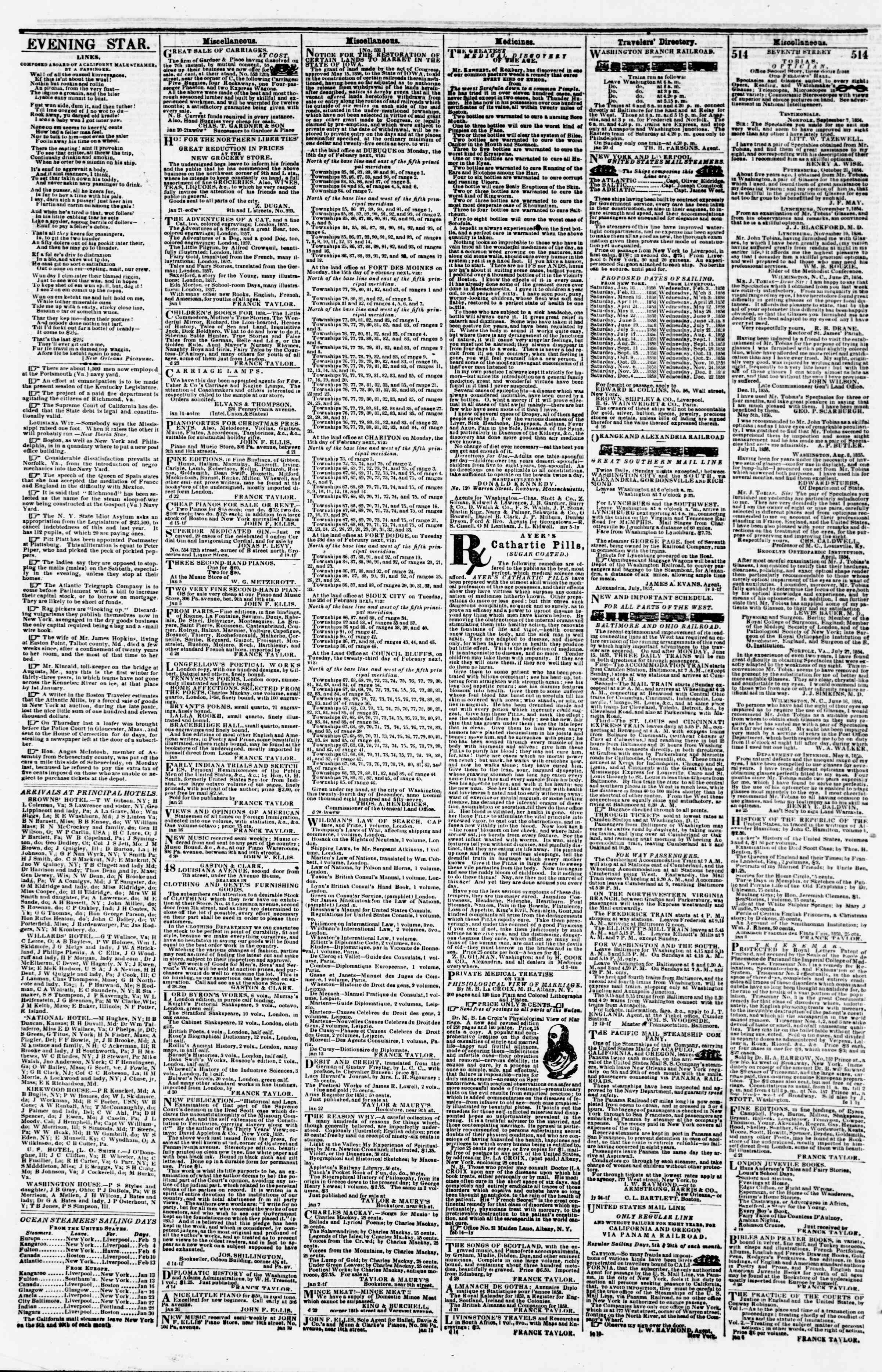 Newspaper of Evening Star dated February 5, 1858 Page 4