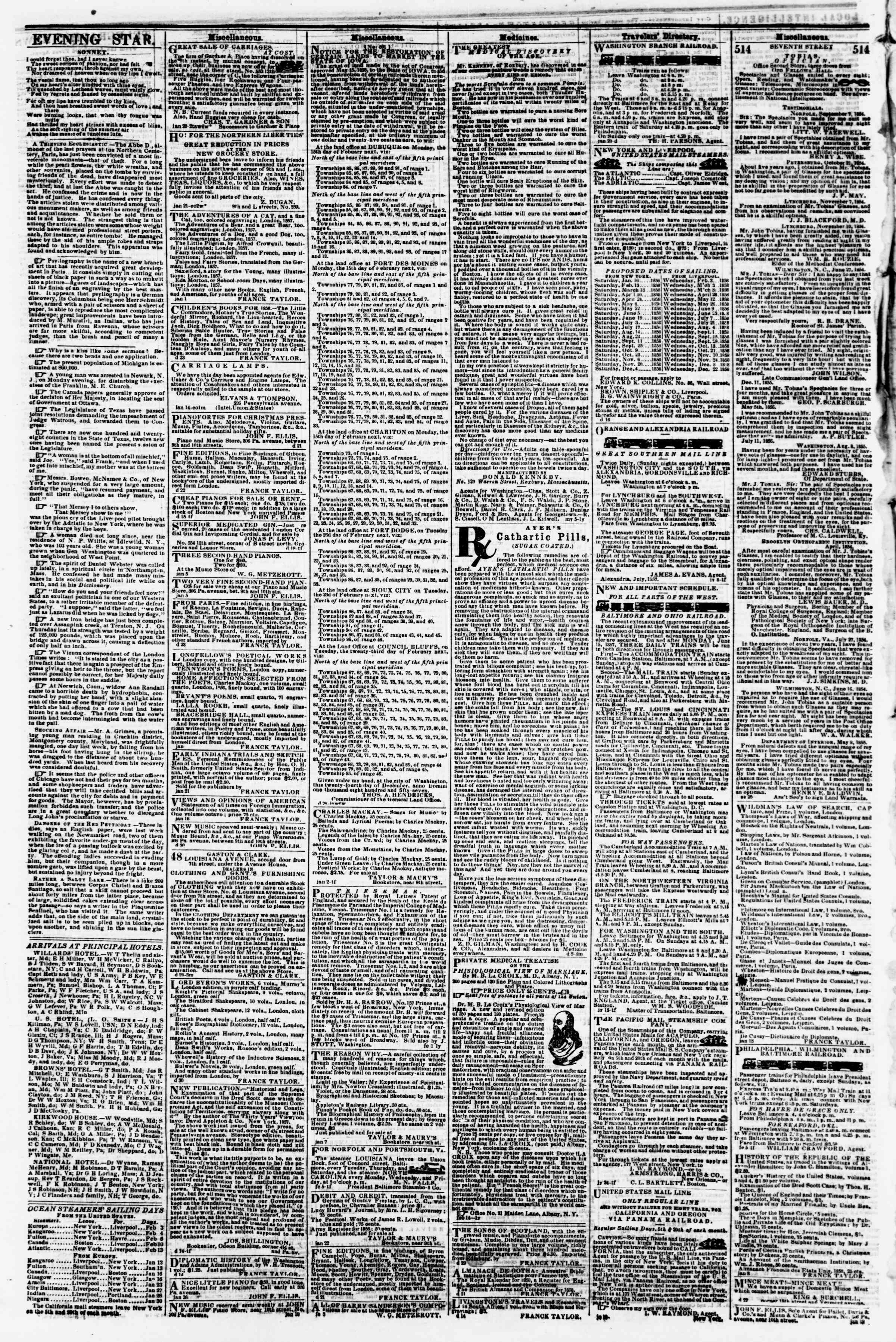 Newspaper of Evening Star dated February 6, 1858 Page 4