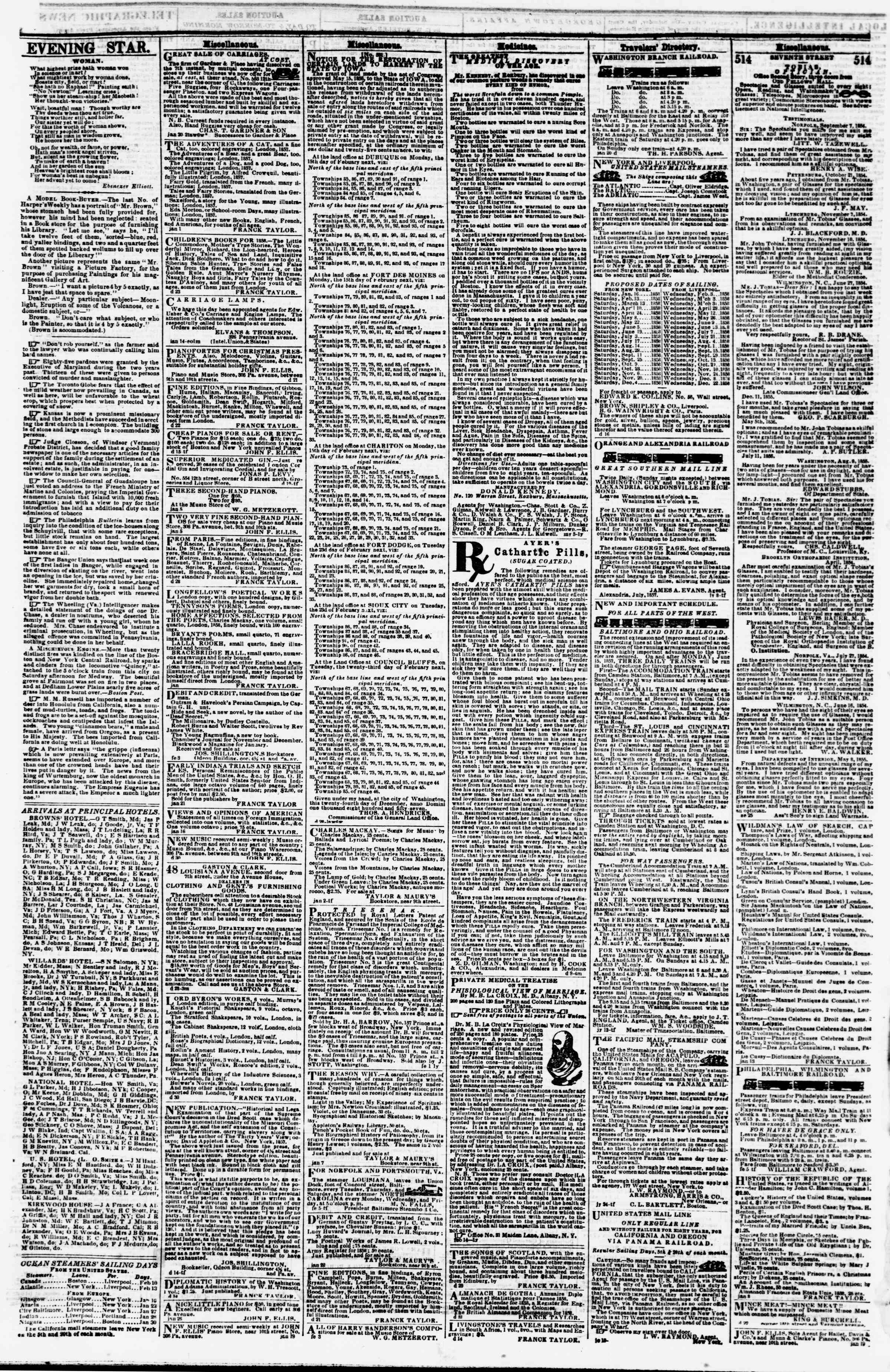 Newspaper of Evening Star dated February 8, 1858 Page 4