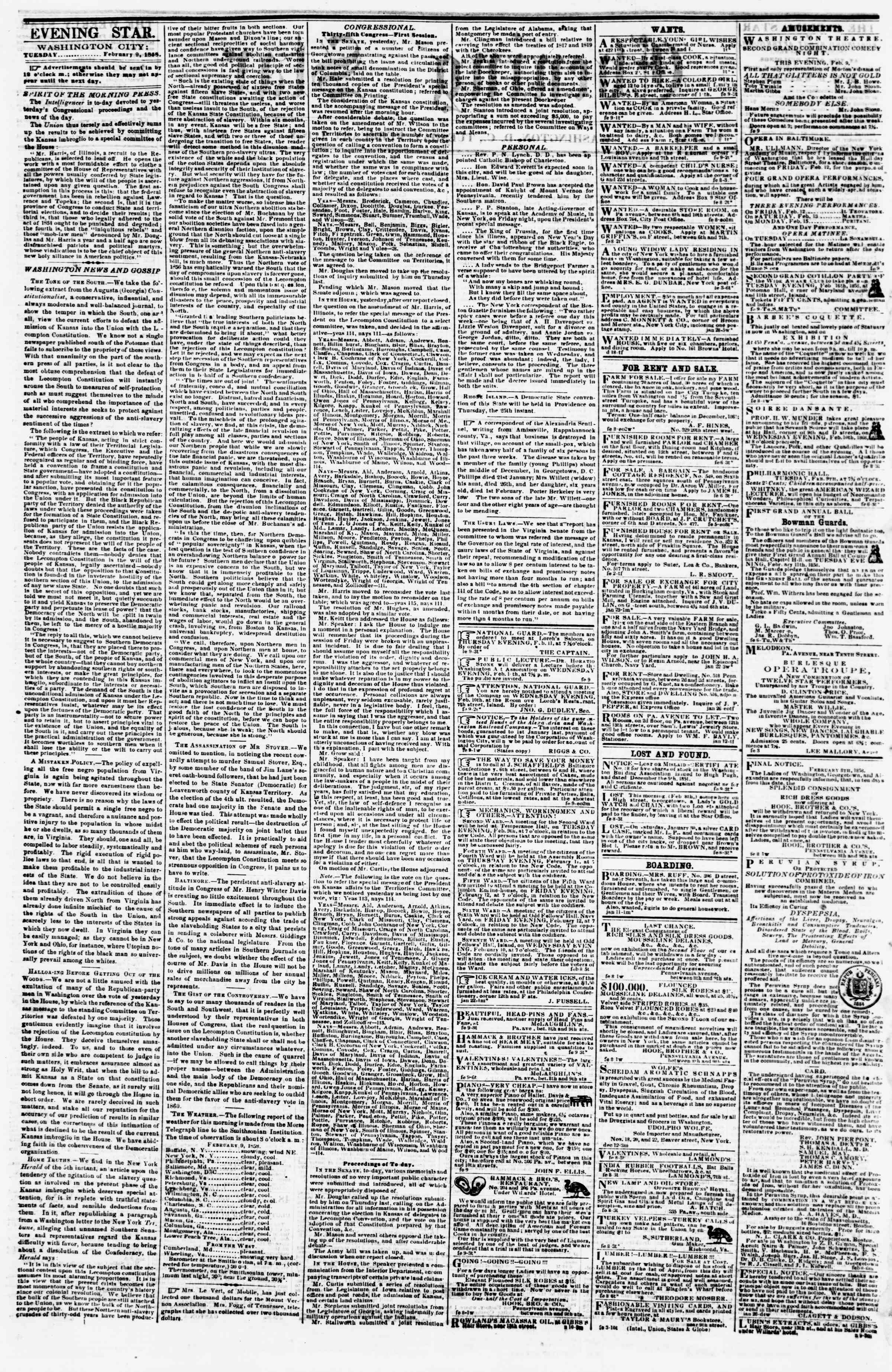 Newspaper of Evening Star dated February 9, 1858 Page 2
