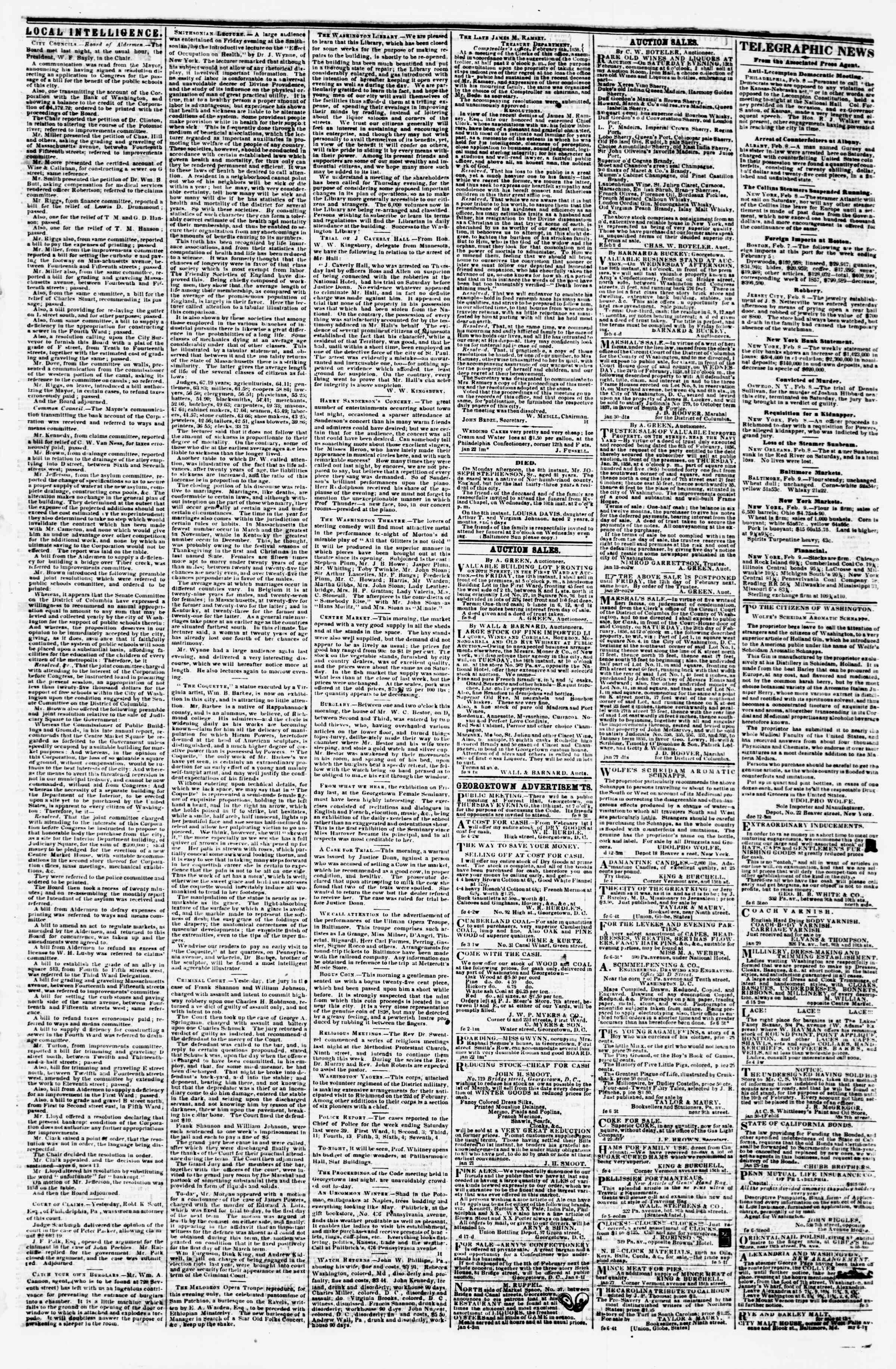 Newspaper of Evening Star dated February 9, 1858 Page 3
