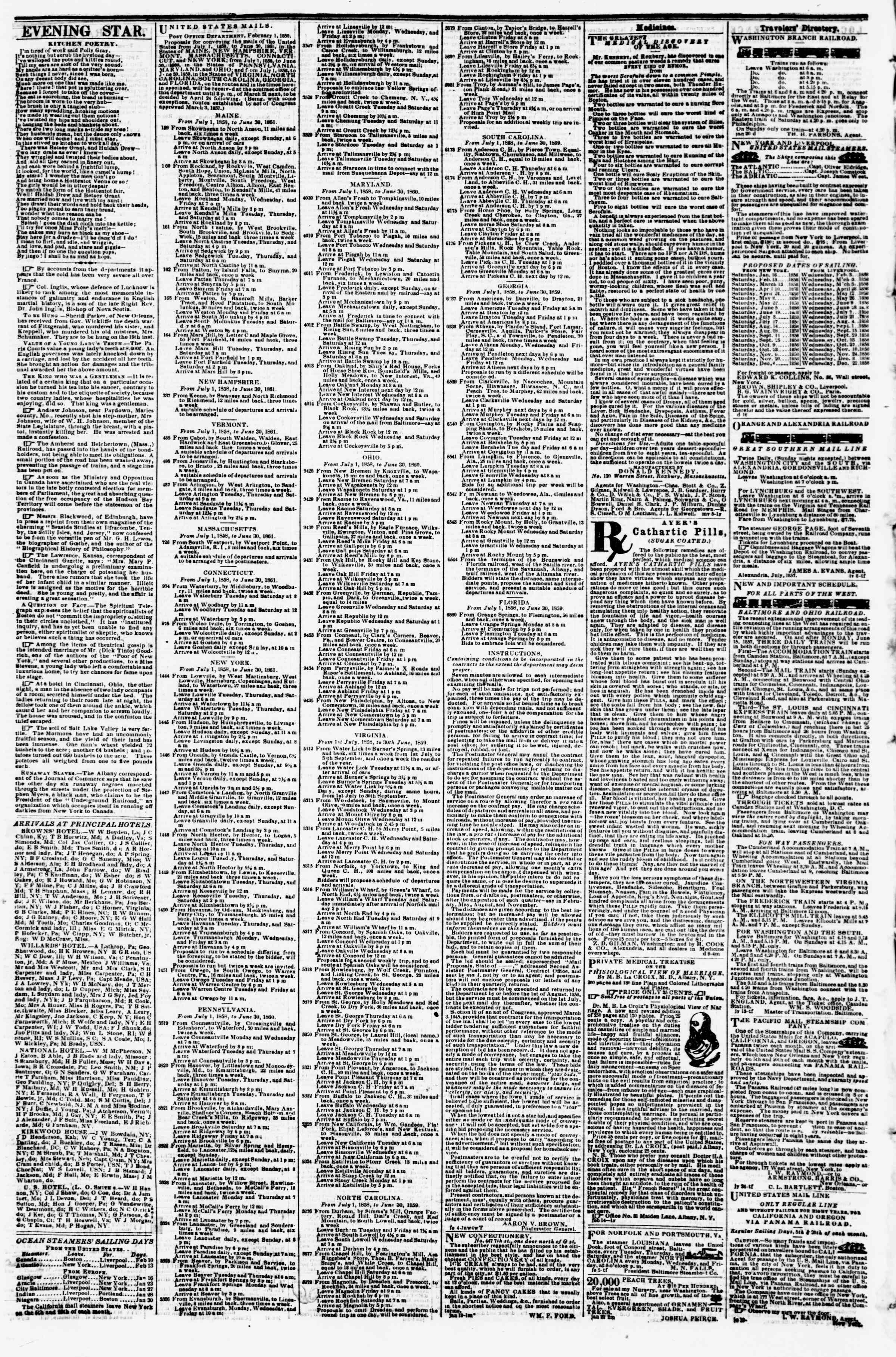 Newspaper of Evening Star dated February 9, 1858 Page 4