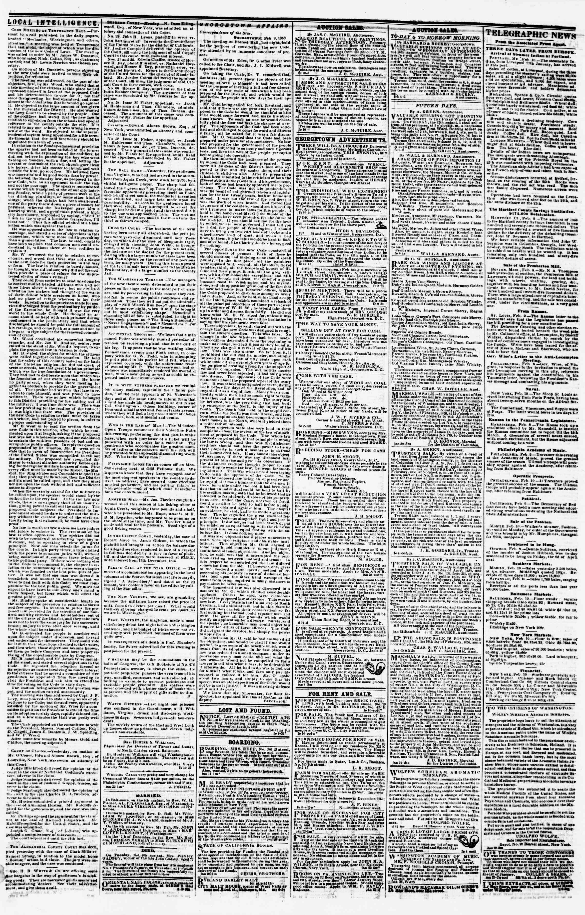 Newspaper of Evening Star dated February 10, 1858 Page 3