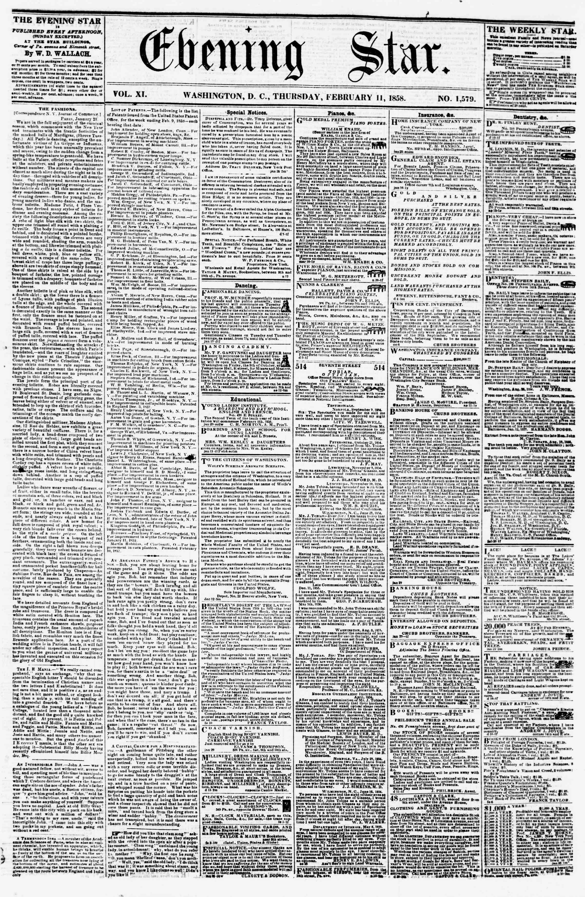 Newspaper of Evening Star dated February 11, 1858 Page 1