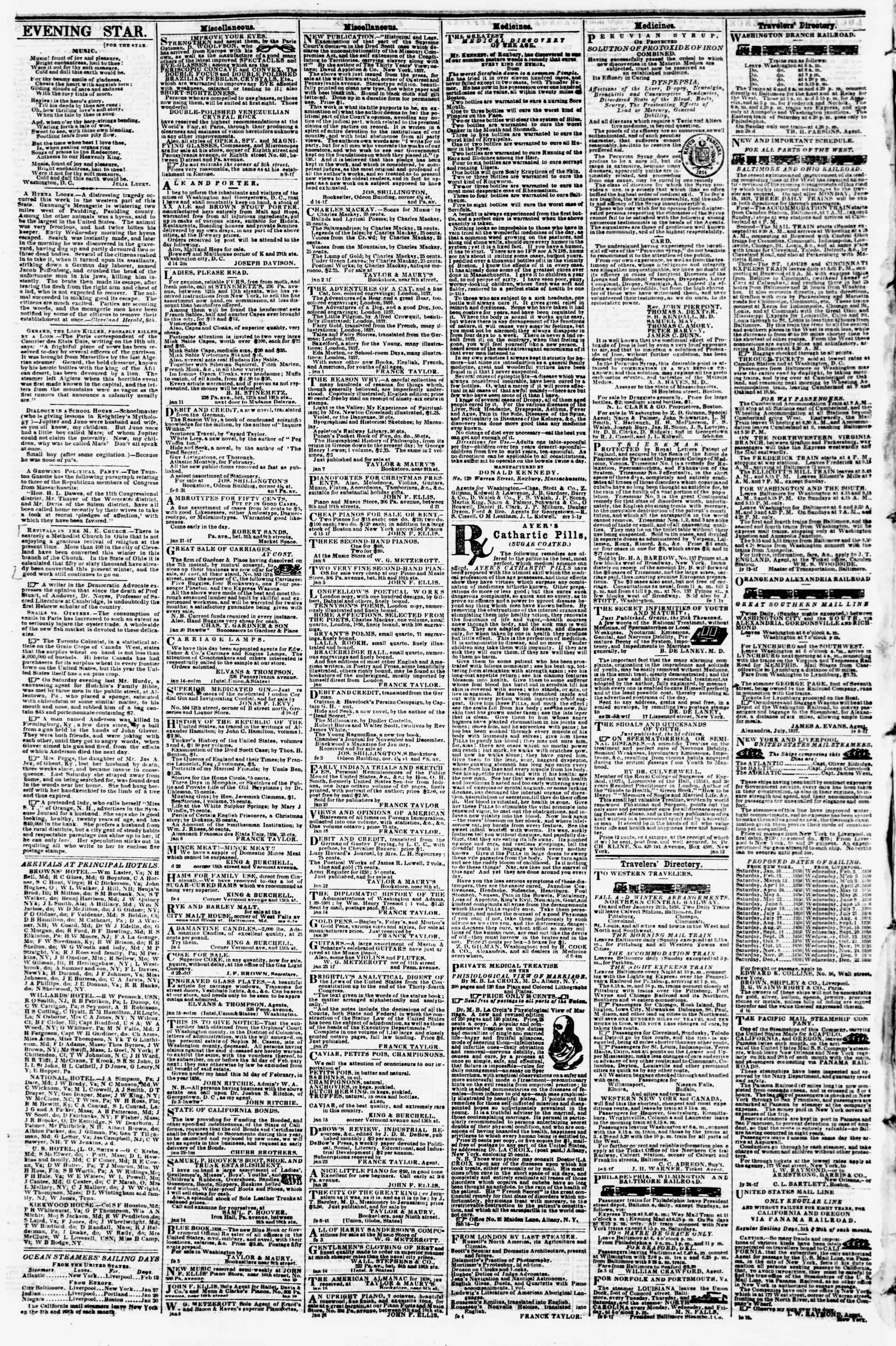 Newspaper of Evening Star dated February 11, 1858 Page 4