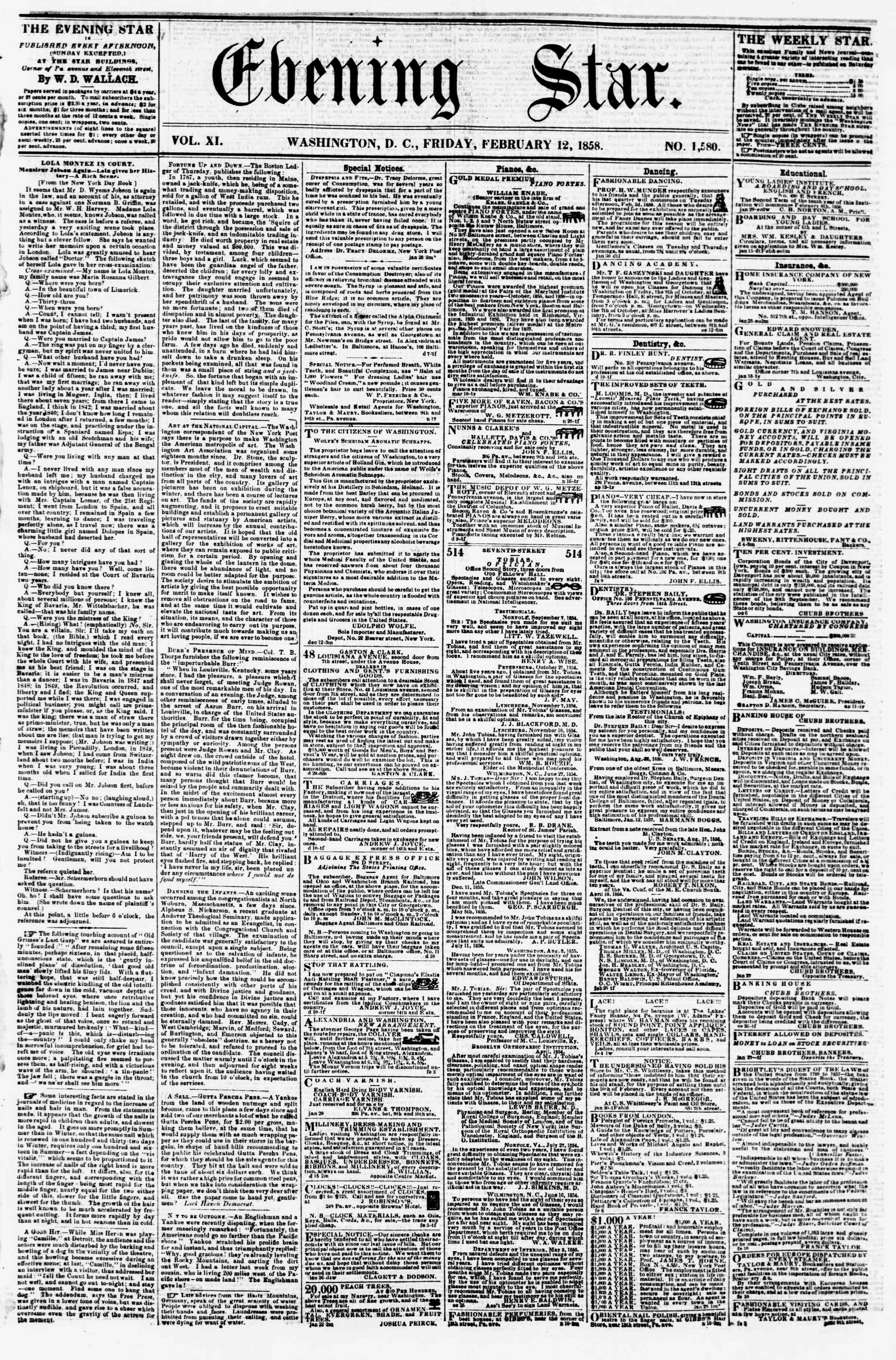 Newspaper of Evening Star dated February 12, 1858 Page 1