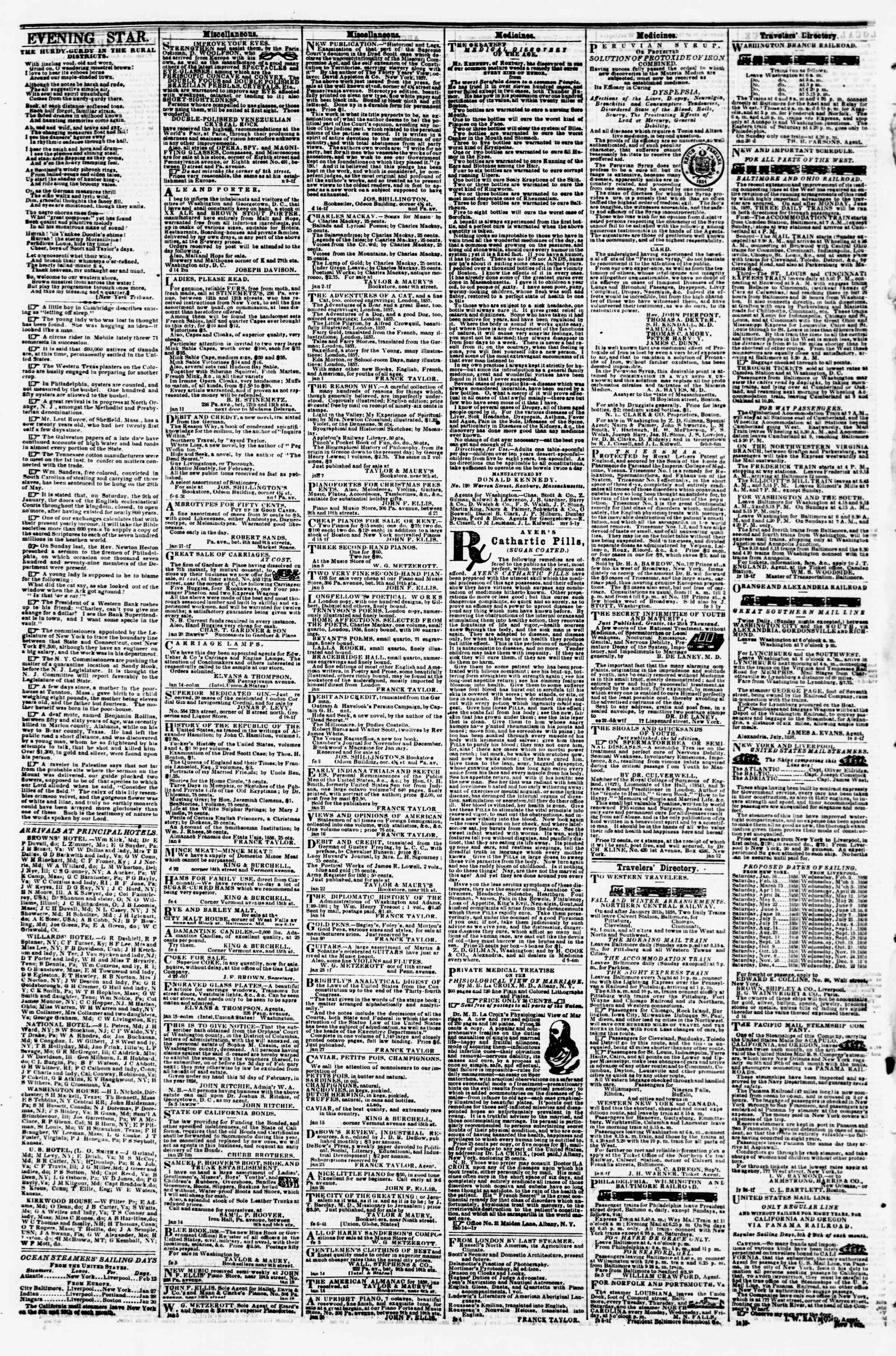 Newspaper of Evening Star dated February 12, 1858 Page 4