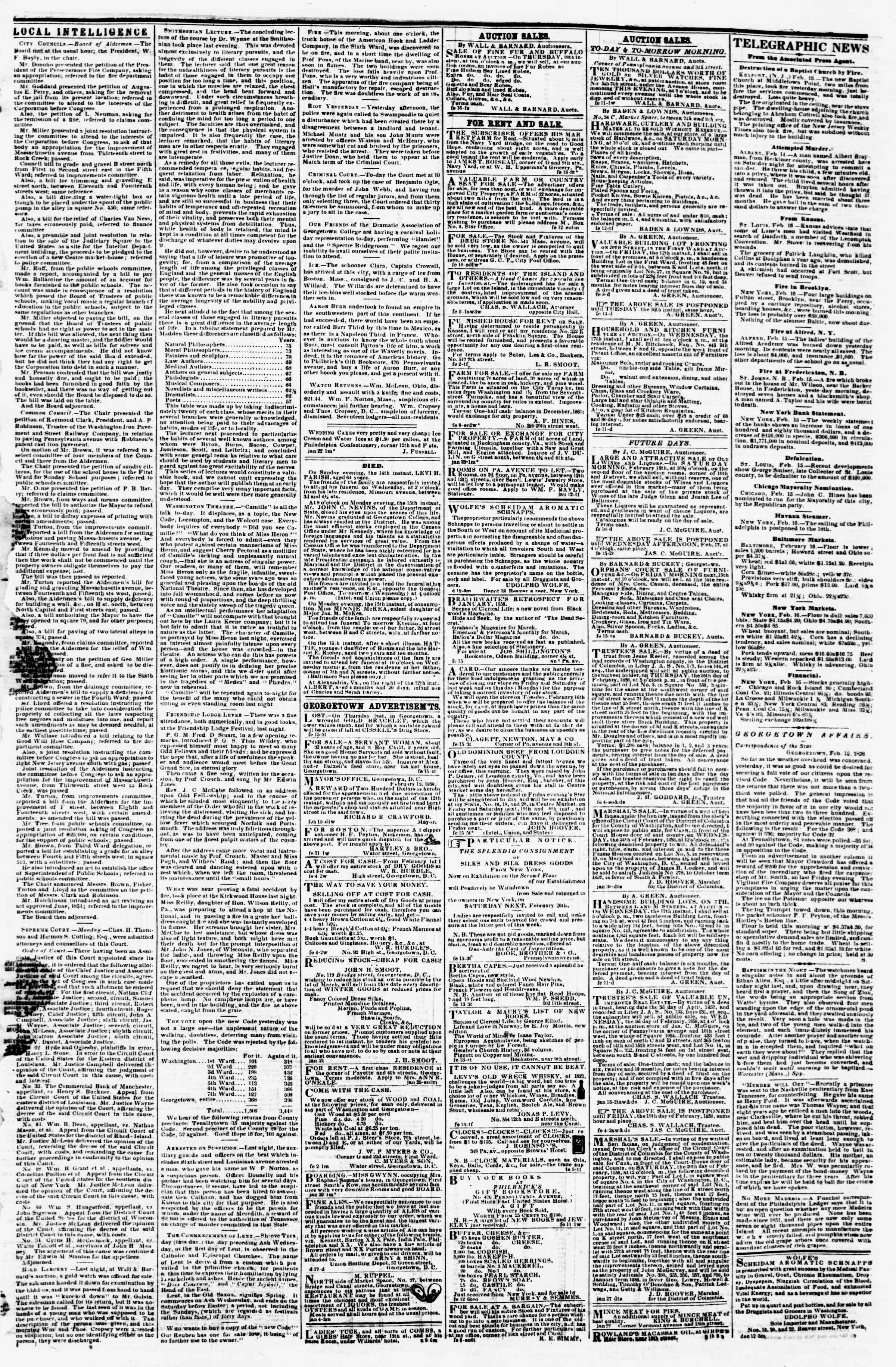 Newspaper of Evening Star dated February 16, 1858 Page 3