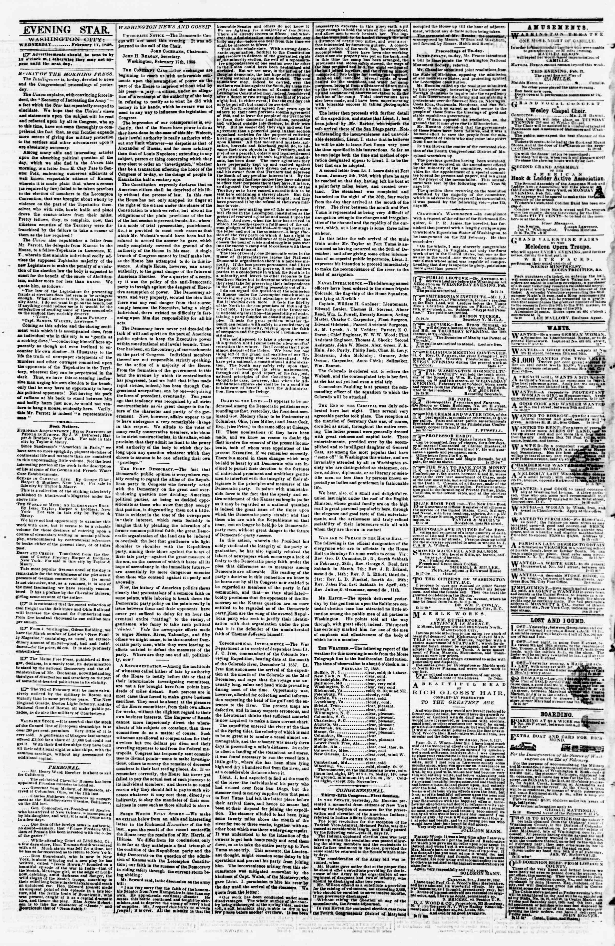 Newspaper of Evening Star dated February 17, 1858 Page 2