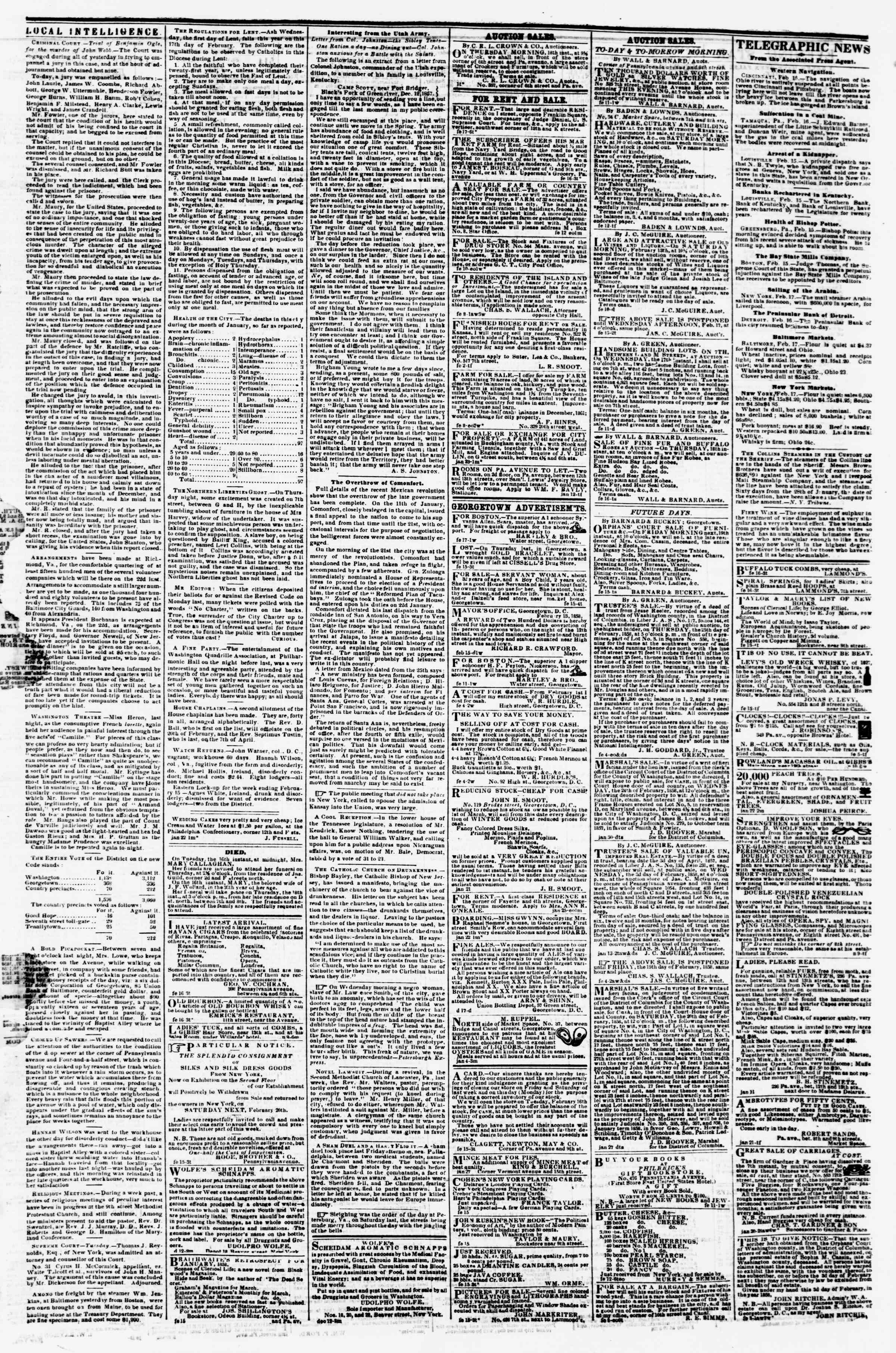 Newspaper of Evening Star dated February 17, 1858 Page 3