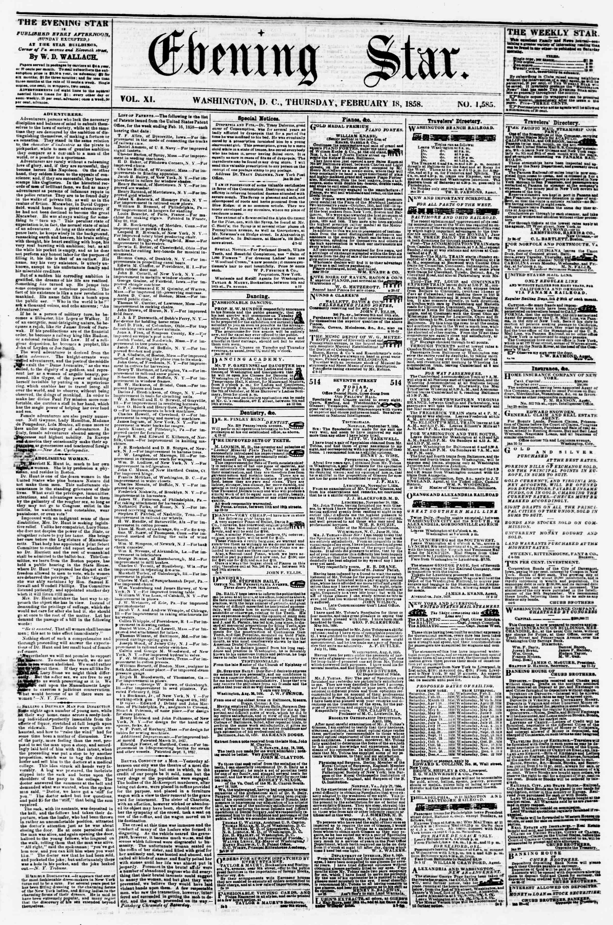 Newspaper of Evening Star dated 18 Şubat 1858 Page 1