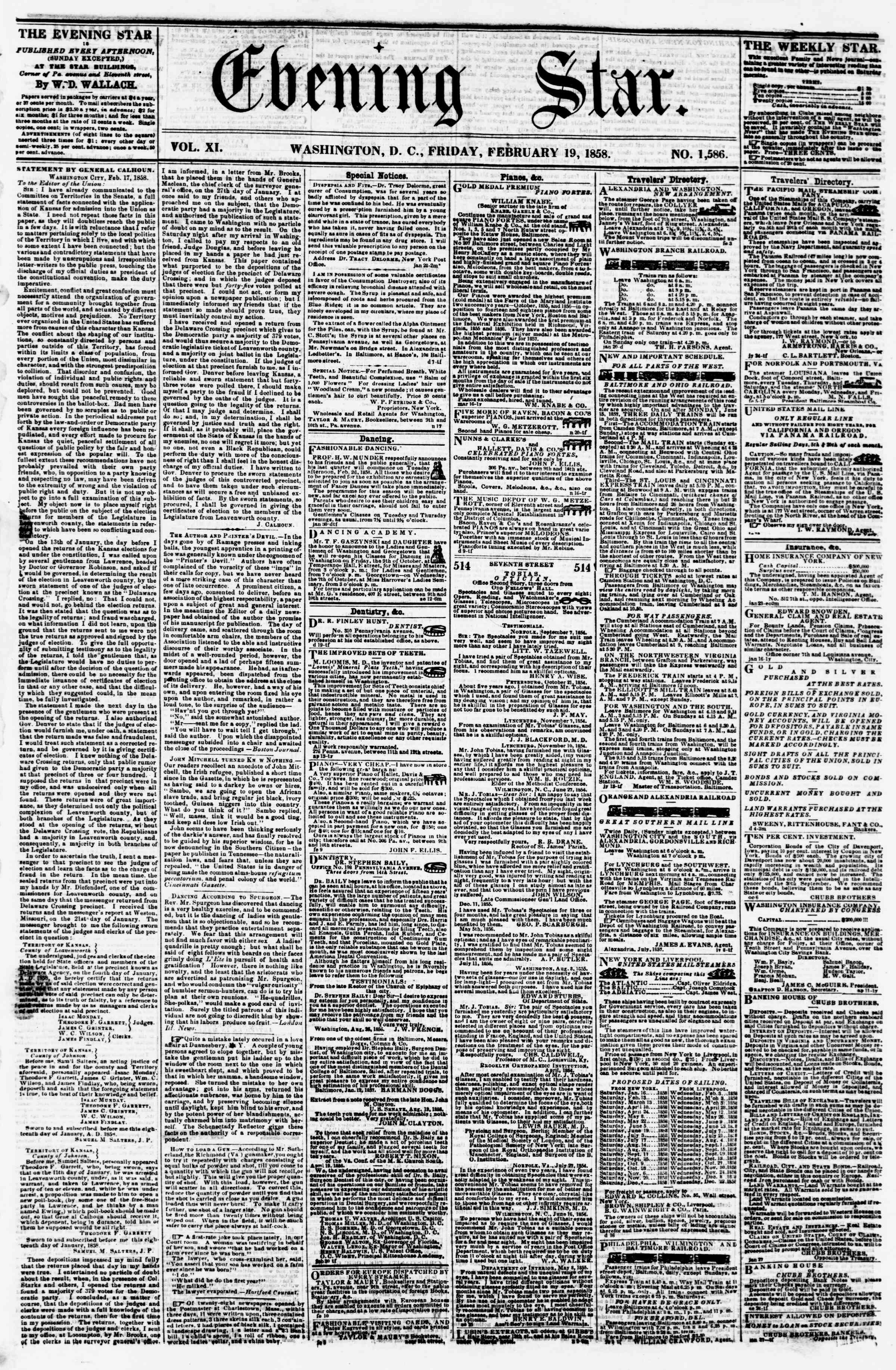 Newspaper of Evening Star dated February 19, 1858 Page 1