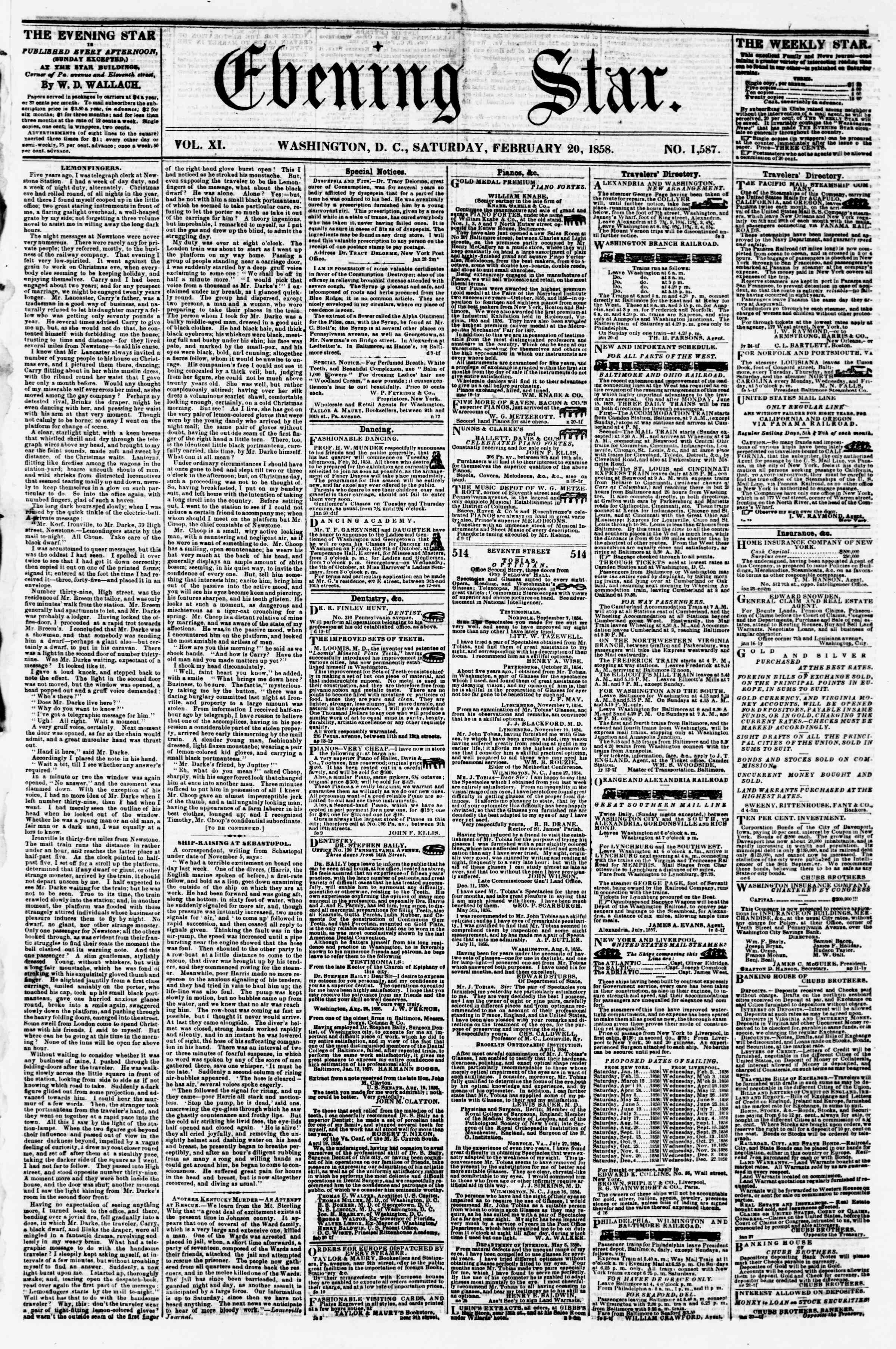 Newspaper of Evening Star dated February 20, 1858 Page 1