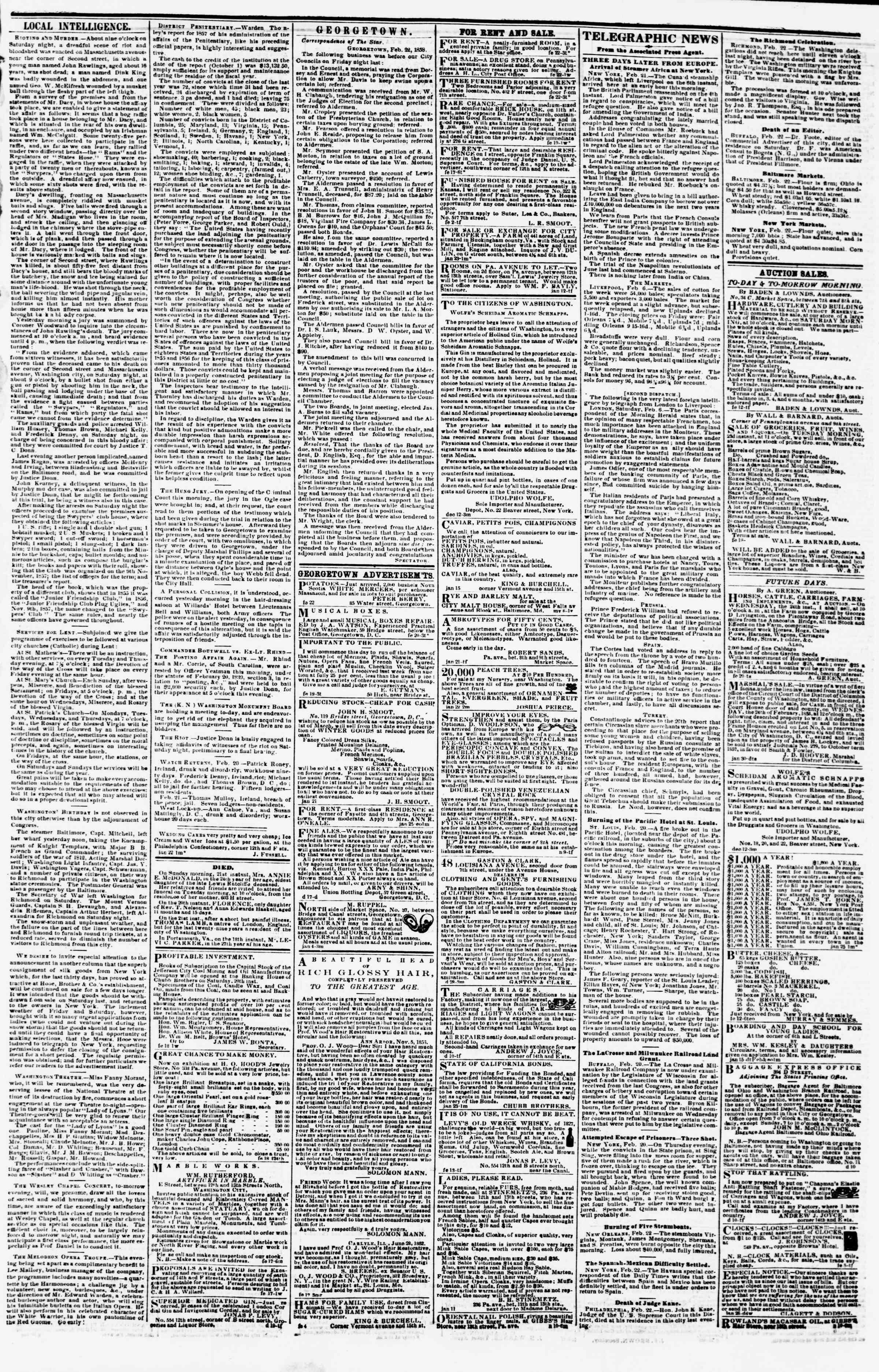 Newspaper of Evening Star dated February 22, 1858 Page 3
