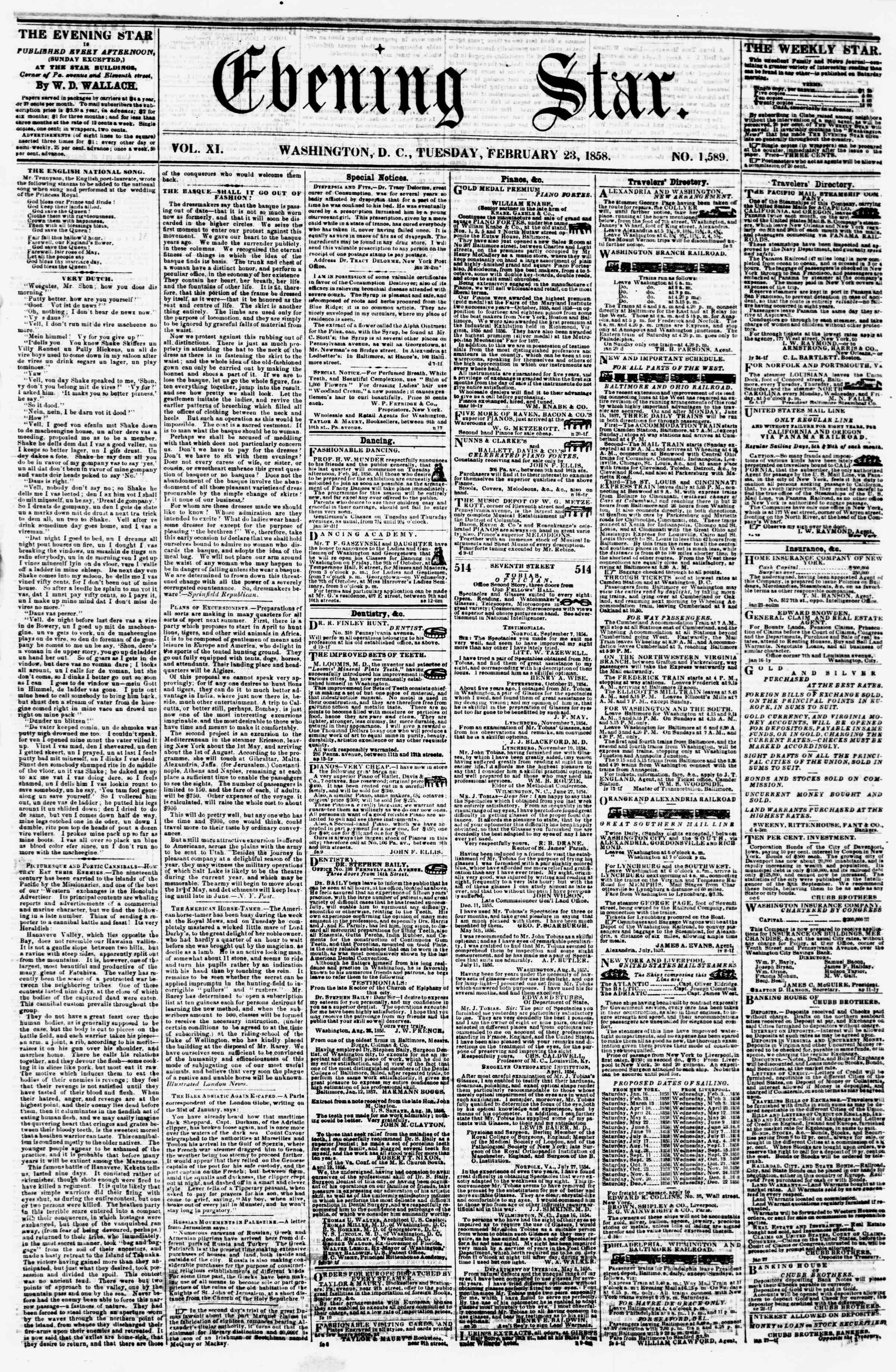 Newspaper of Evening Star dated February 23, 1858 Page 1