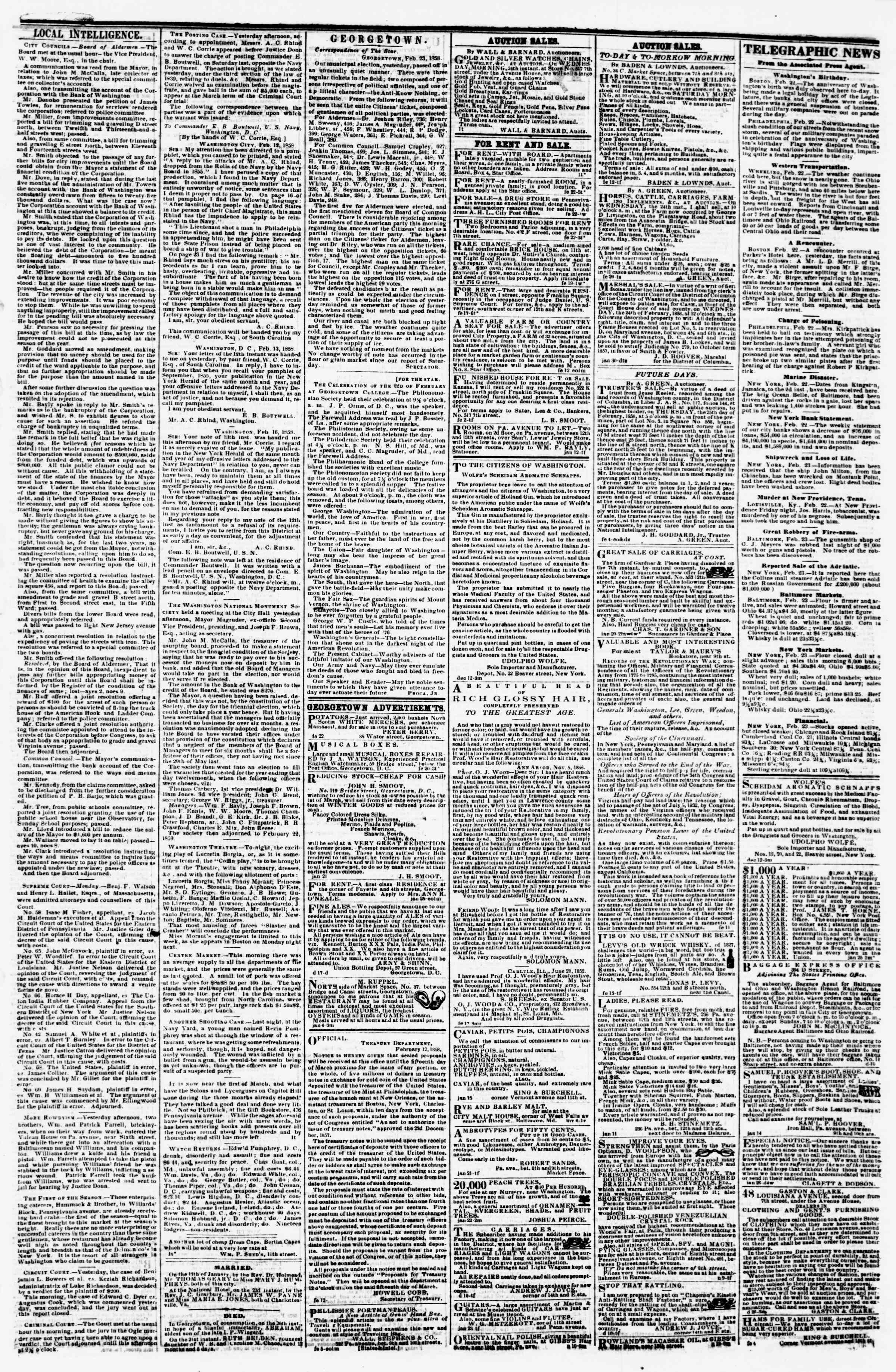Newspaper of Evening Star dated February 23, 1858 Page 3