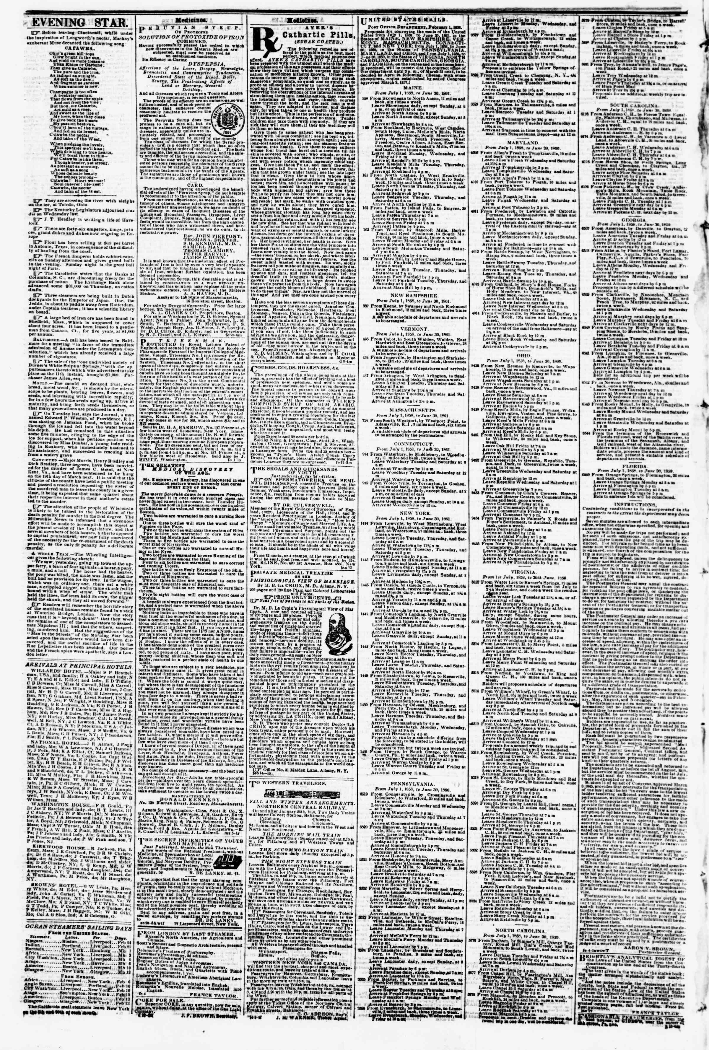 February 23, 1858 tarihli Evening Star Gazetesi Sayfa 4
