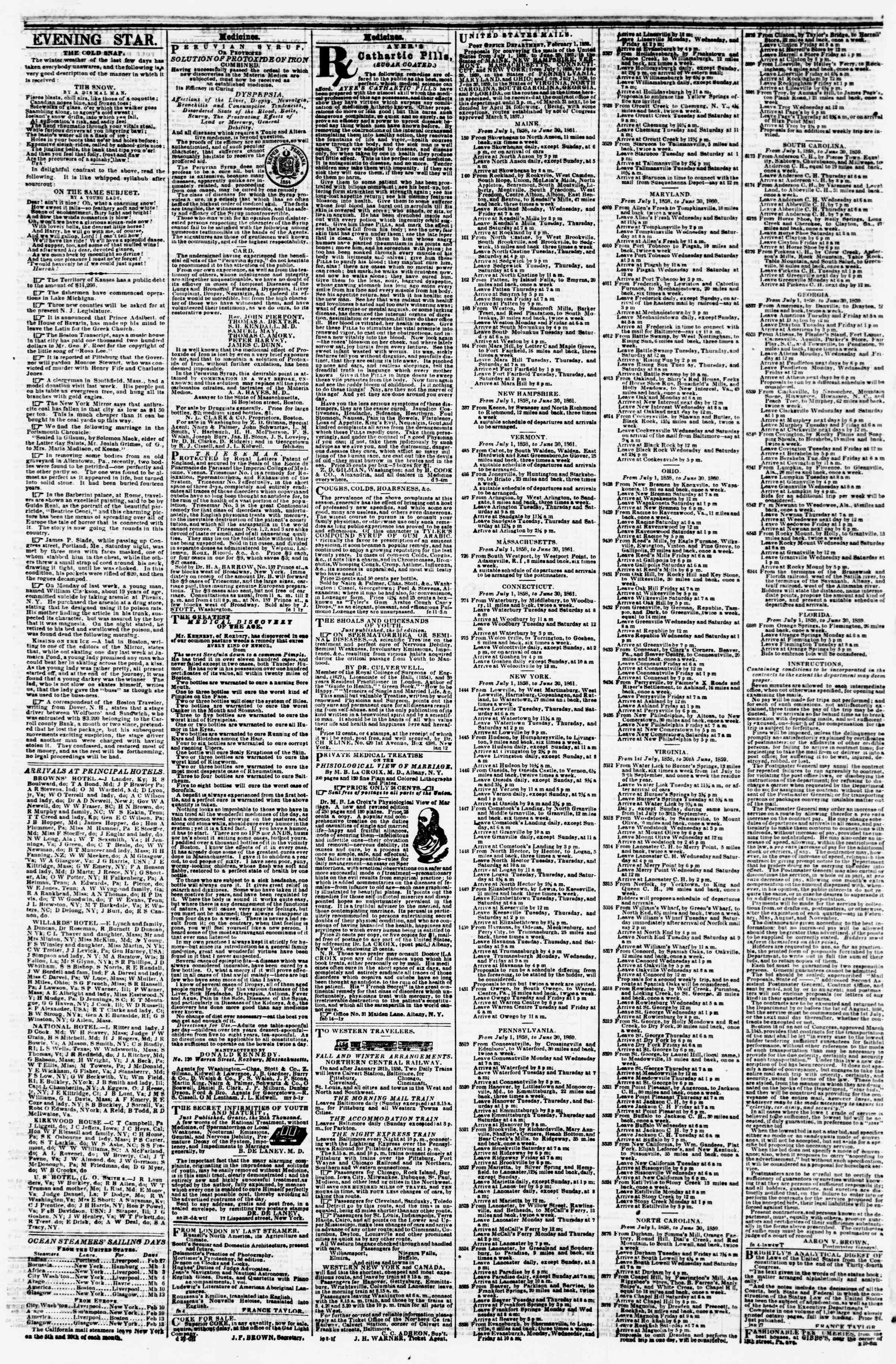 Newspaper of Evening Star dated February 24, 1858 Page 4