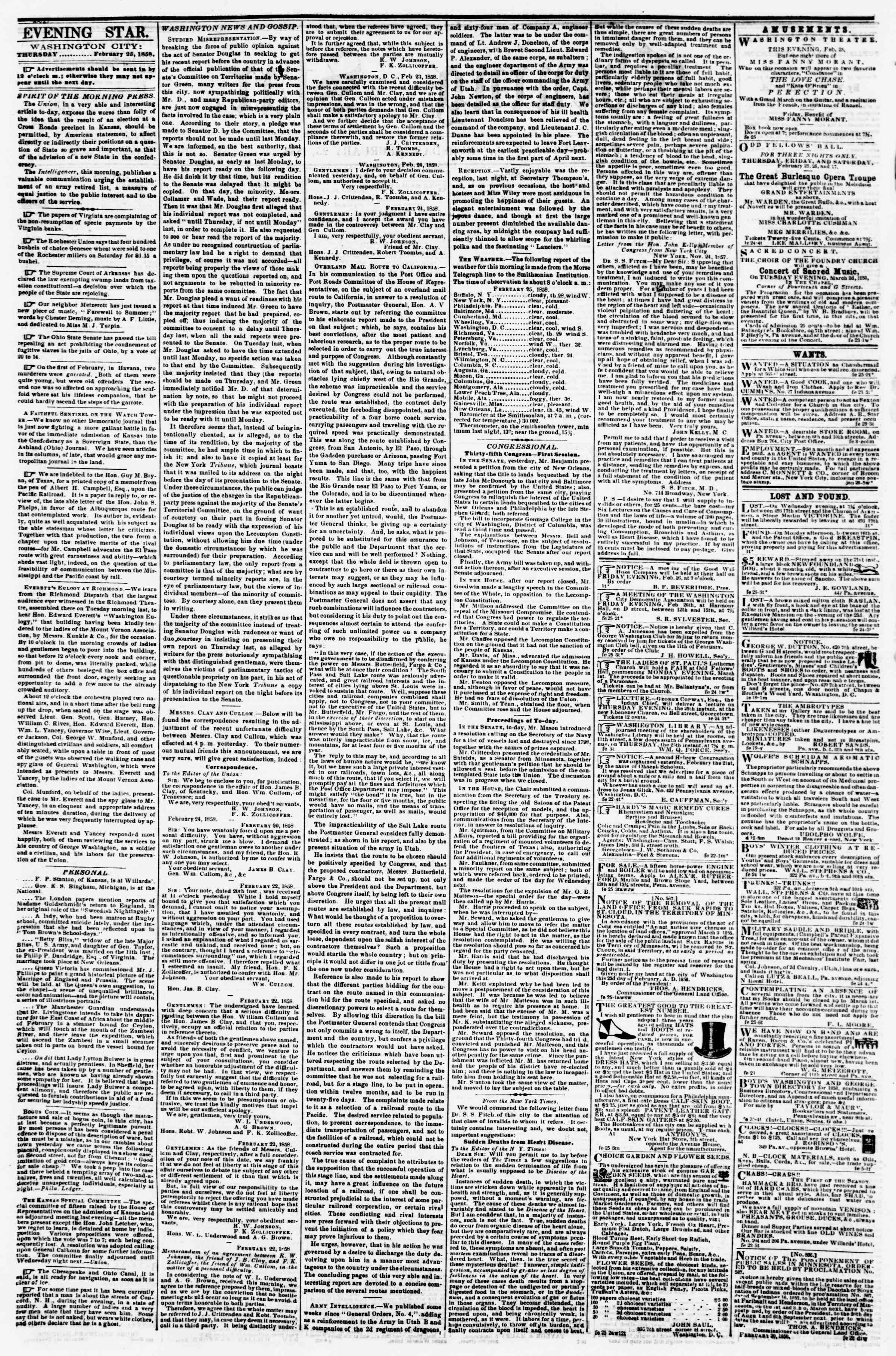 Newspaper of Evening Star dated February 25, 1858 Page 2