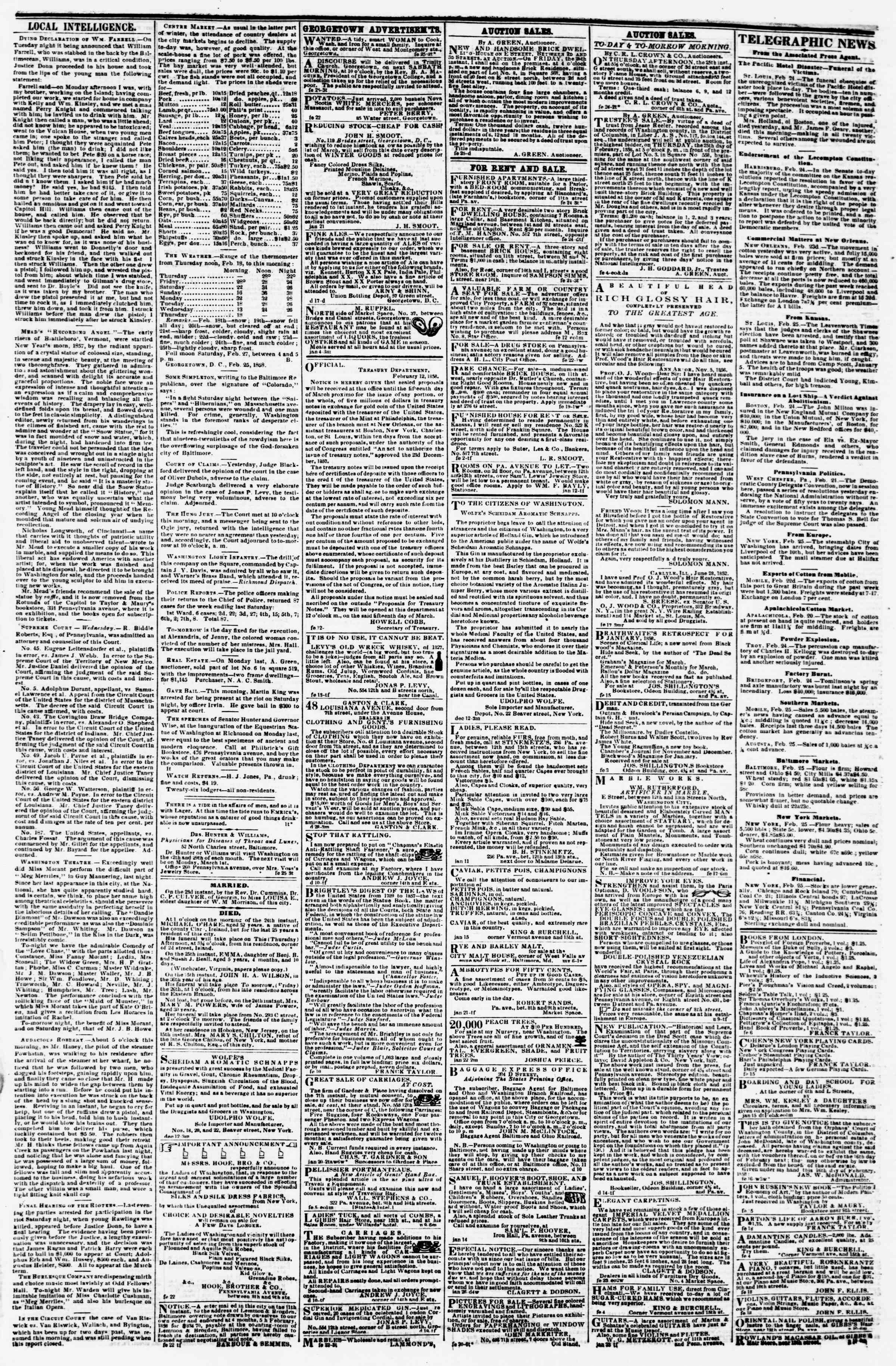 Newspaper of Evening Star dated February 25, 1858 Page 3