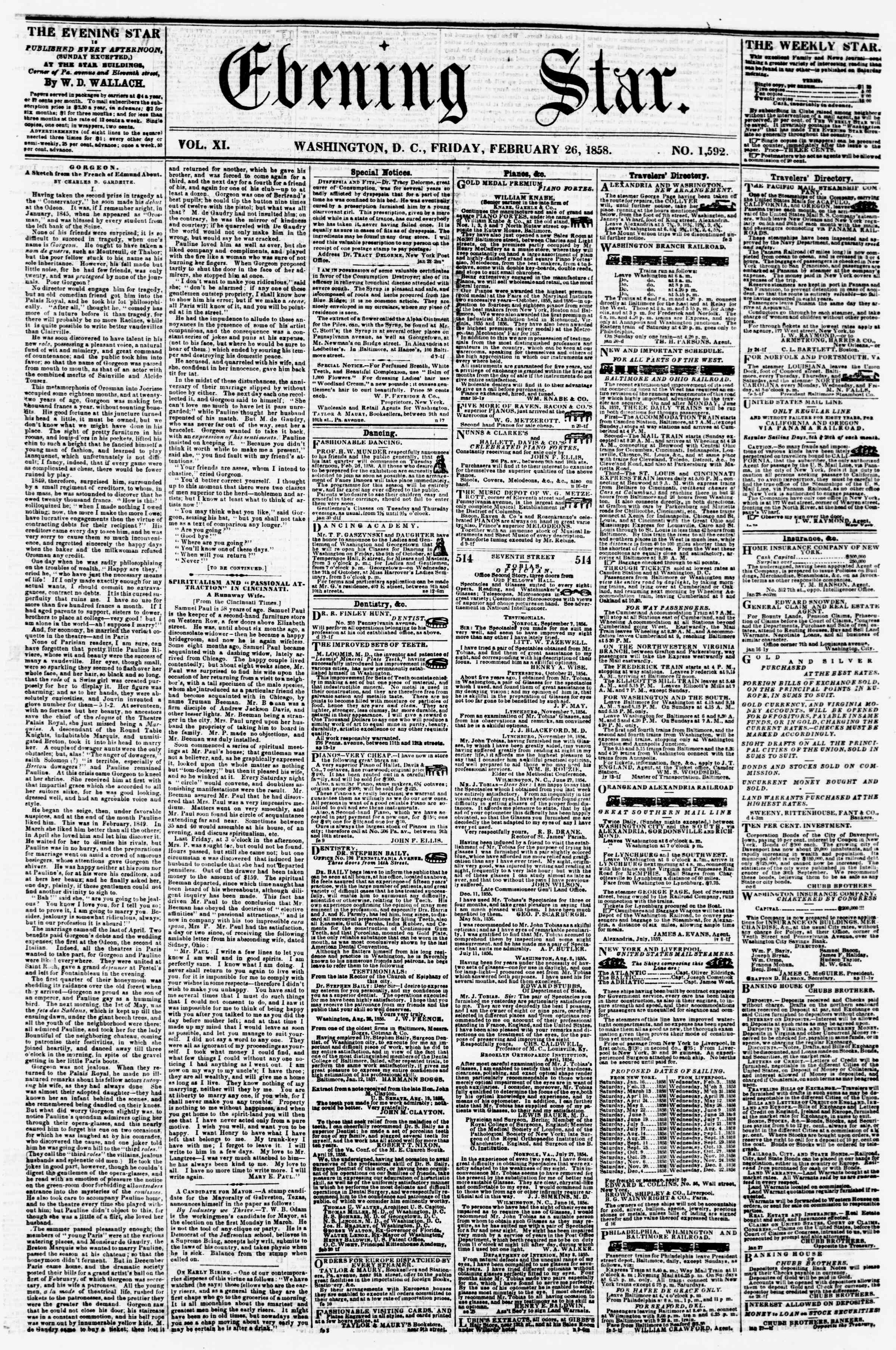 Newspaper of Evening Star dated February 26, 1858 Page 1