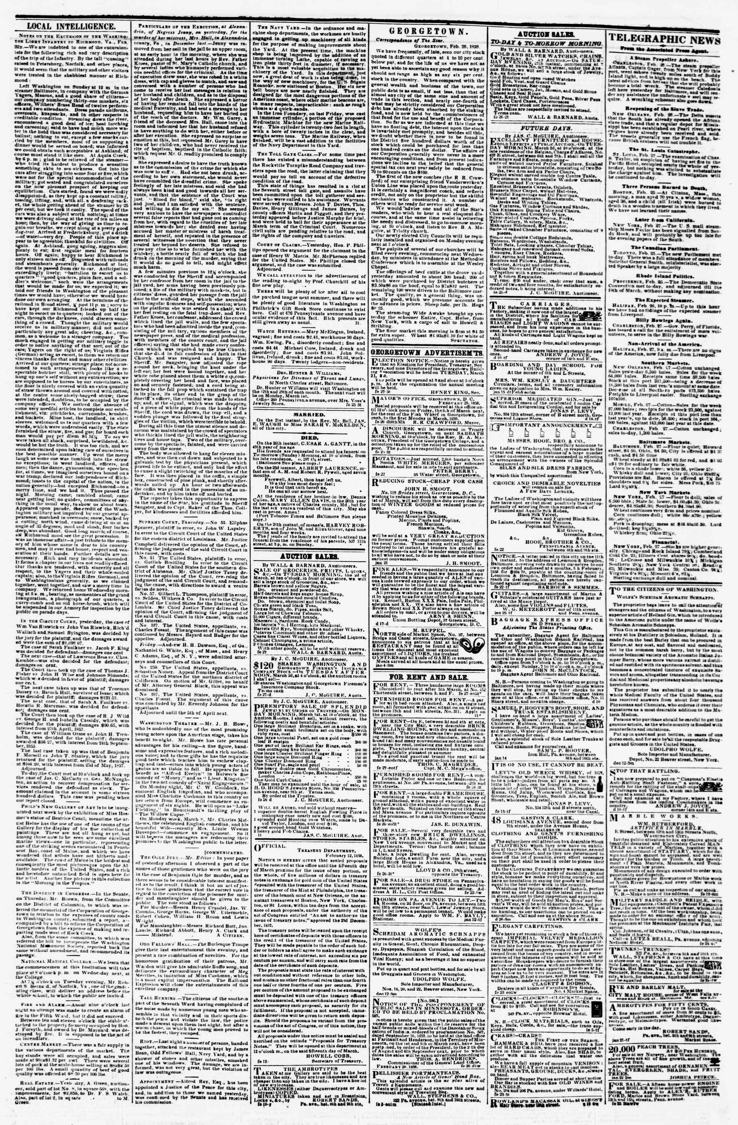Newspaper of Evening Star dated February 27, 1858 Page 3