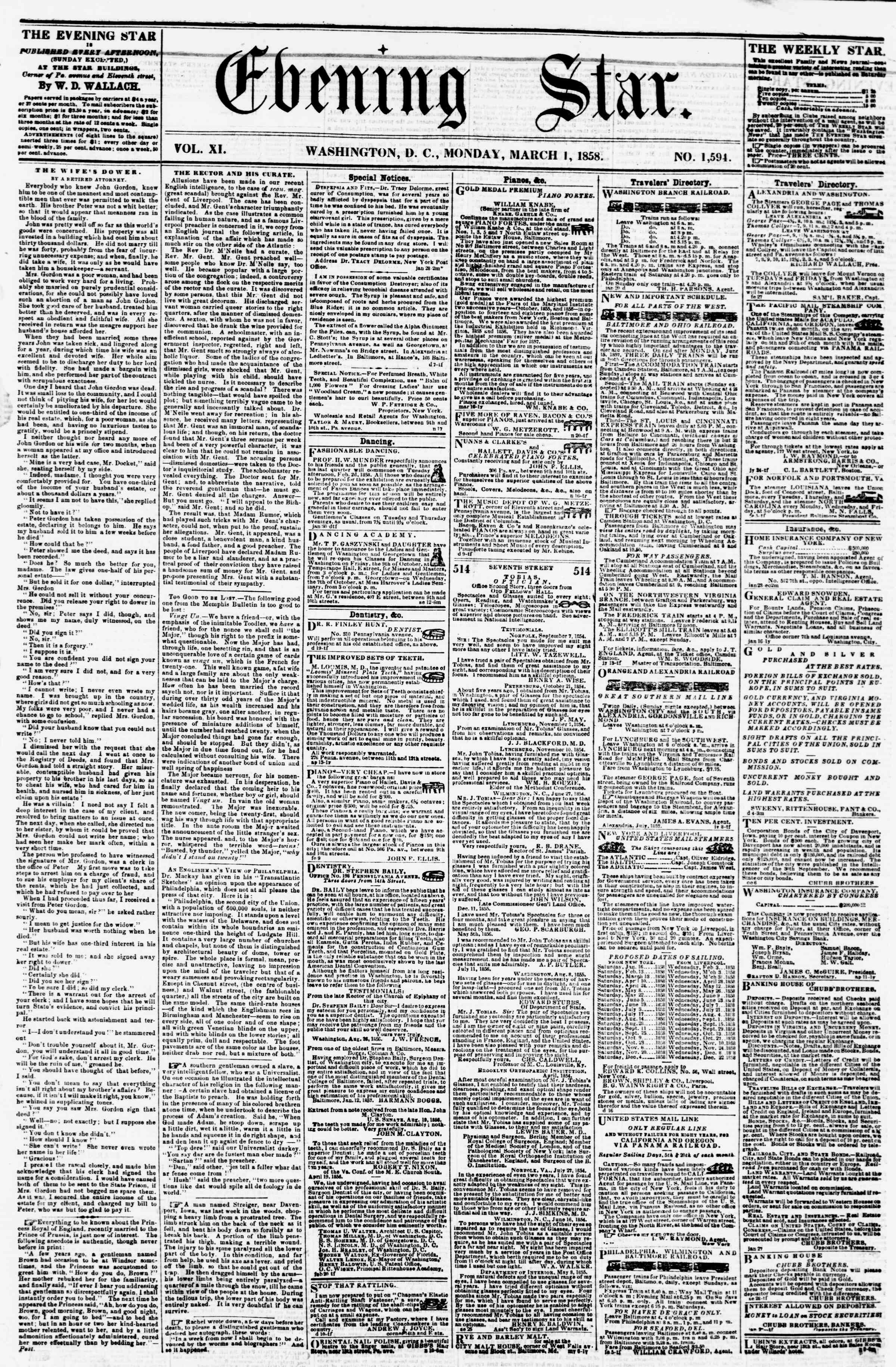 Newspaper of Evening Star dated March 1, 1858 Page 1