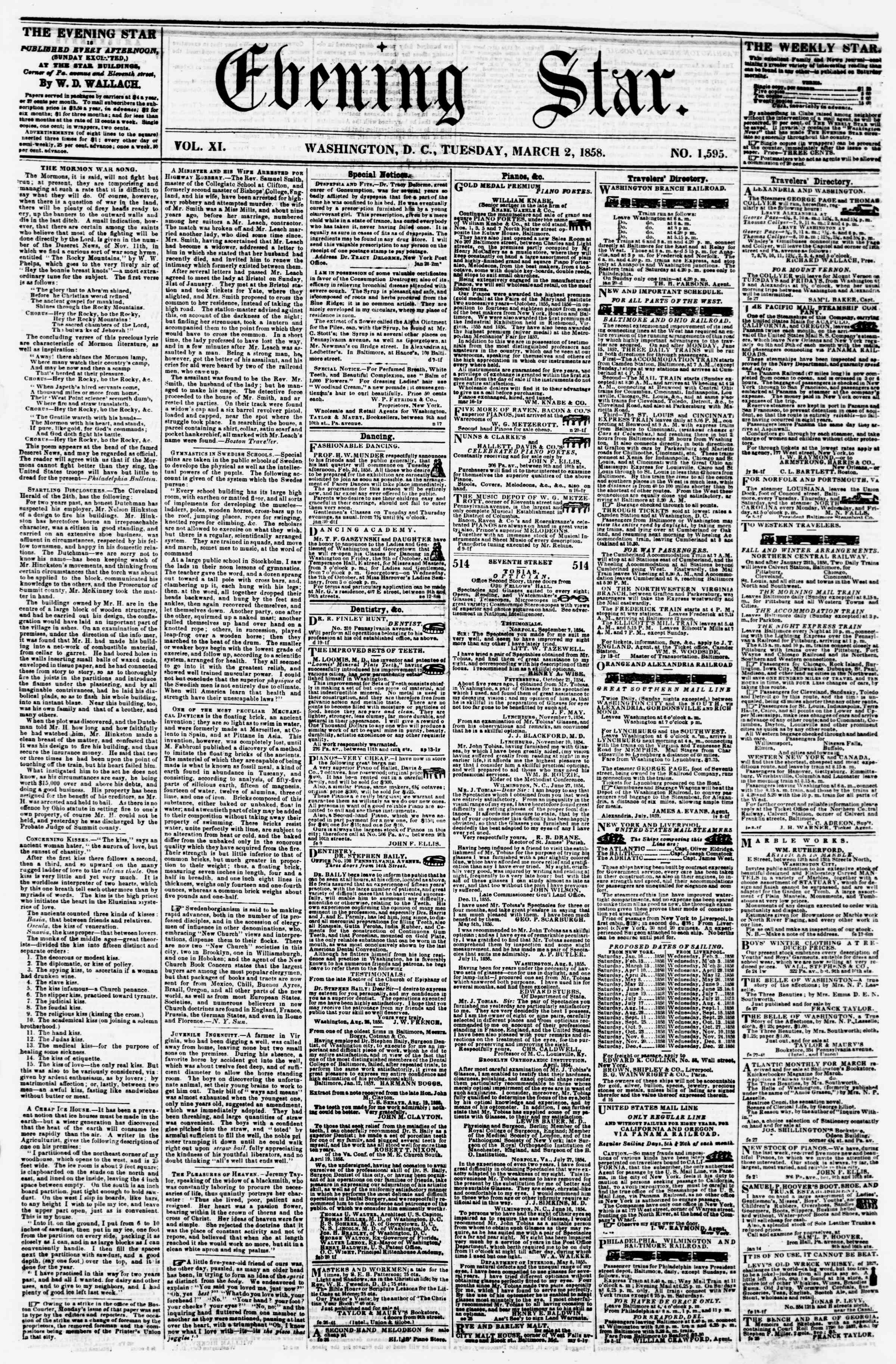 Newspaper of Evening Star dated March 2, 1858 Page 1