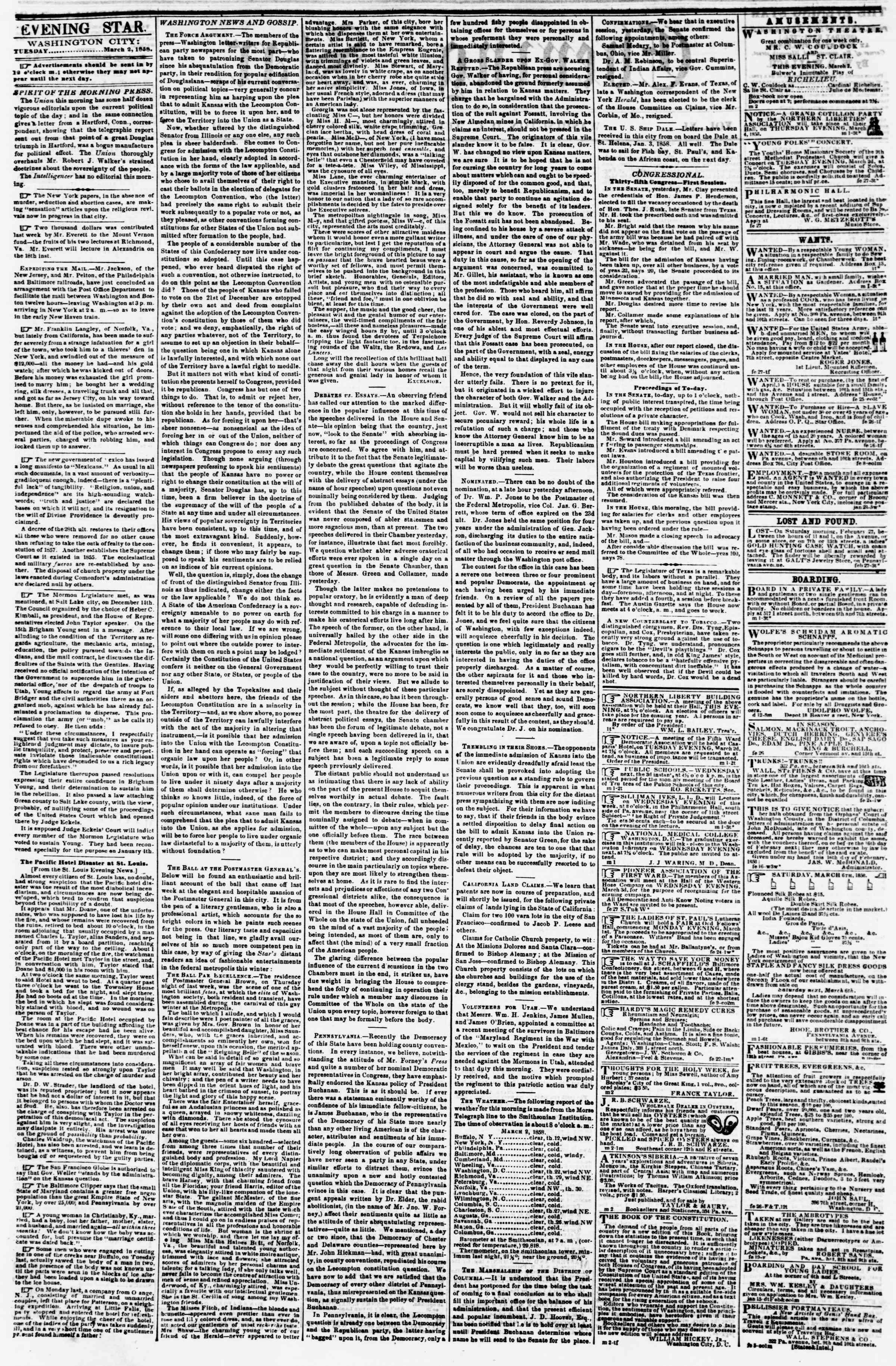2 Mart 1858 tarihli Evening Star Gazetesi Sayfa 2