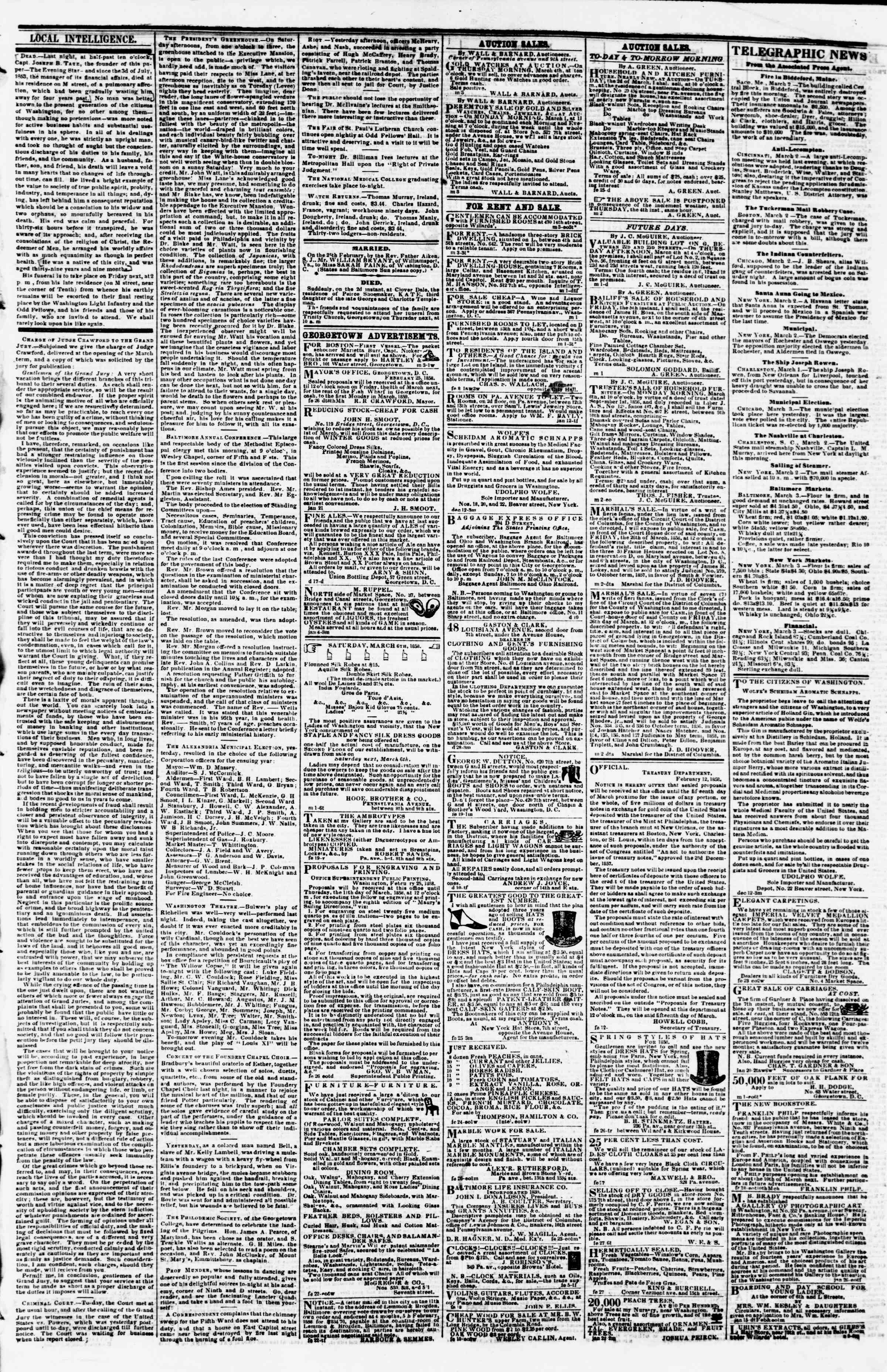 Newspaper of Evening Star dated March 3, 1858 Page 3
