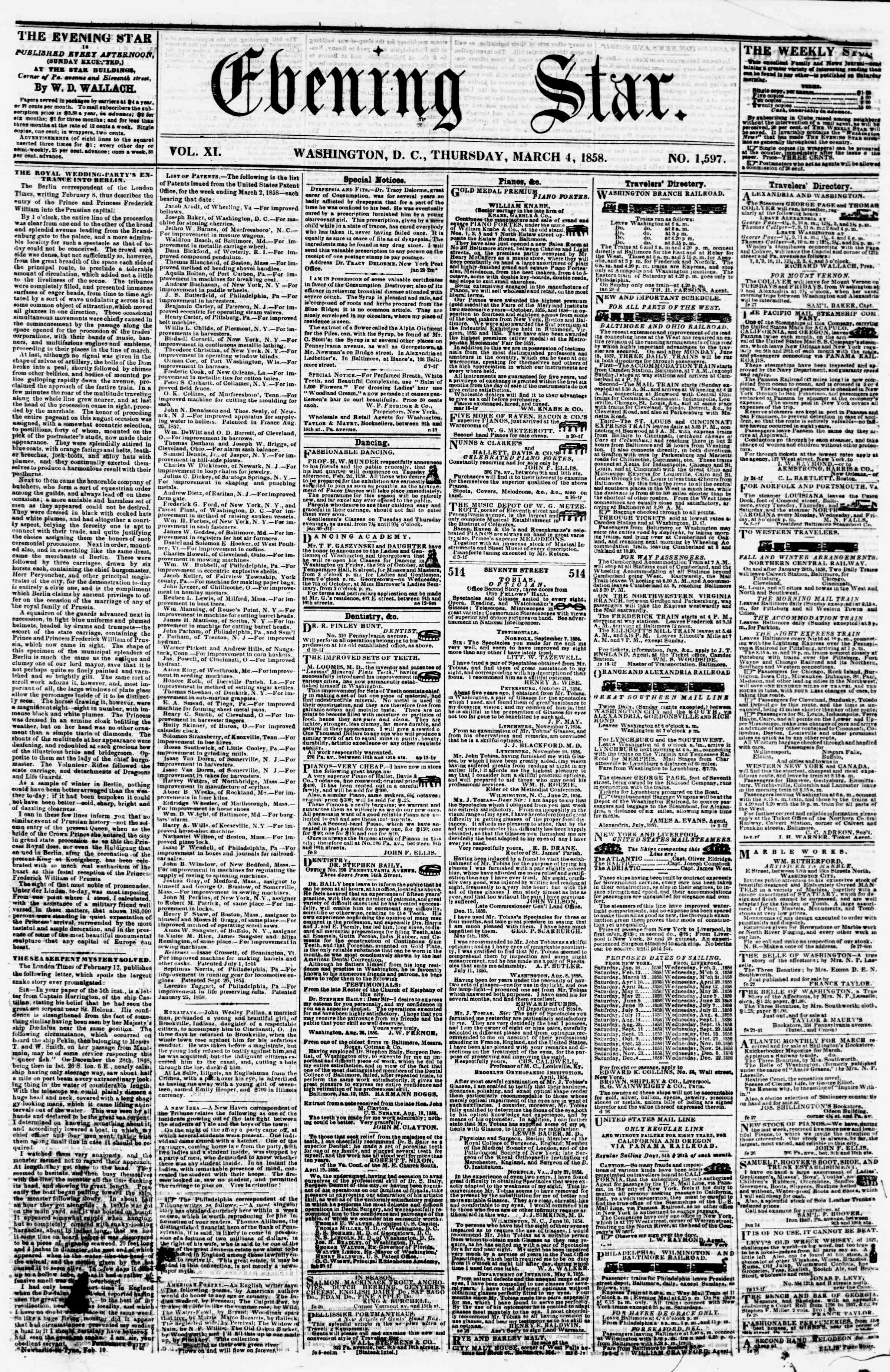 Newspaper of Evening Star dated March 4, 1858 Page 1