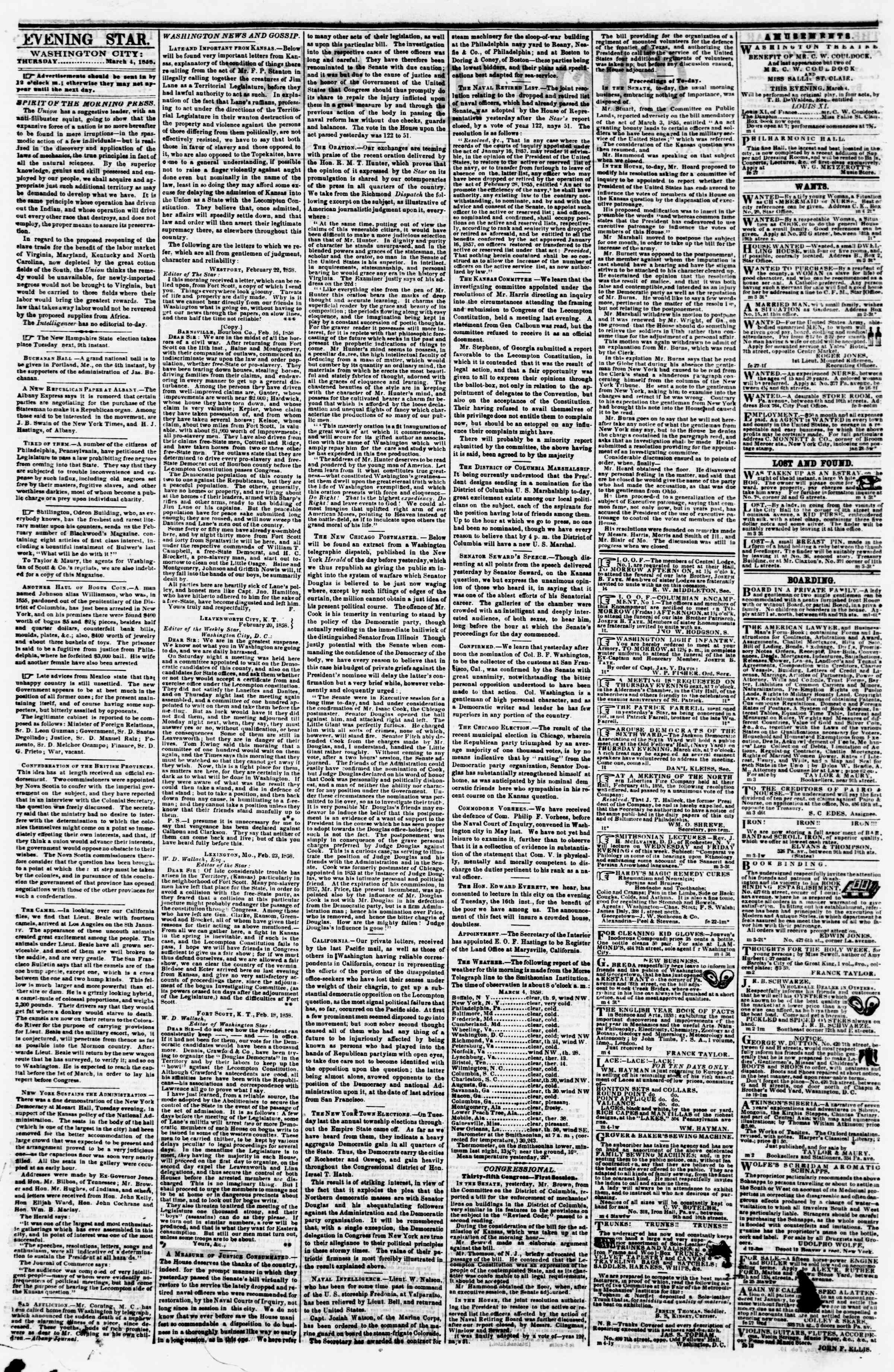 Newspaper of Evening Star dated March 4, 1858 Page 2